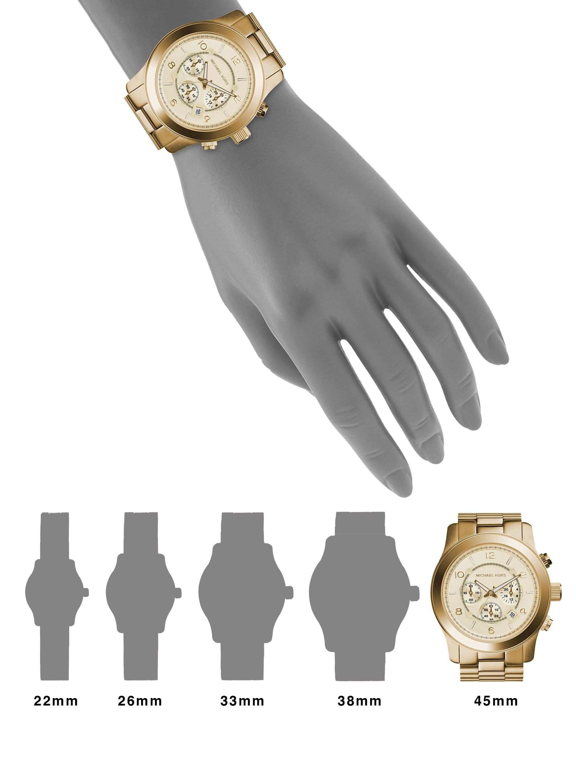e31a91cebe68 Michael Kors - Metallic Runway Oversized Gold-Toned Watch MK8077 - Lyst.  View fullscreen