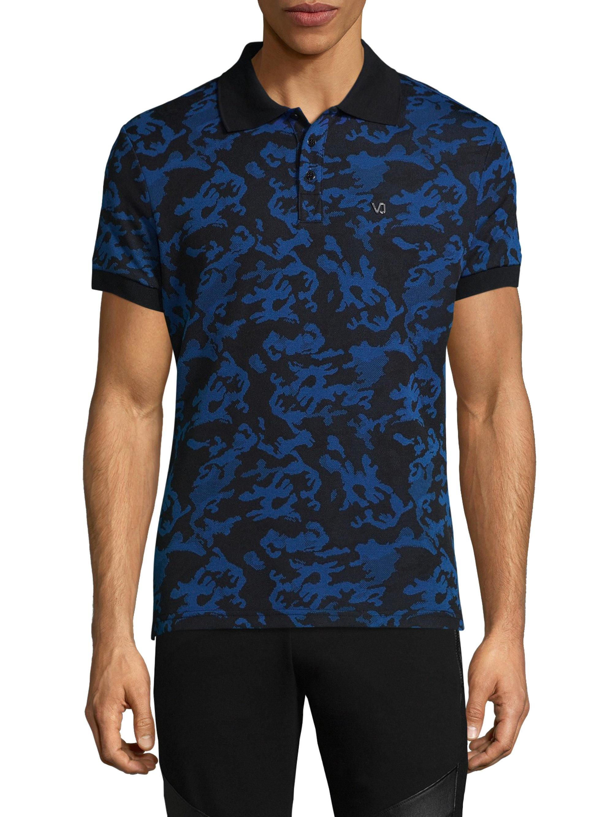 0526b6a0 Versace Jeans Baroque-print Polo in Blue for Men - Lyst