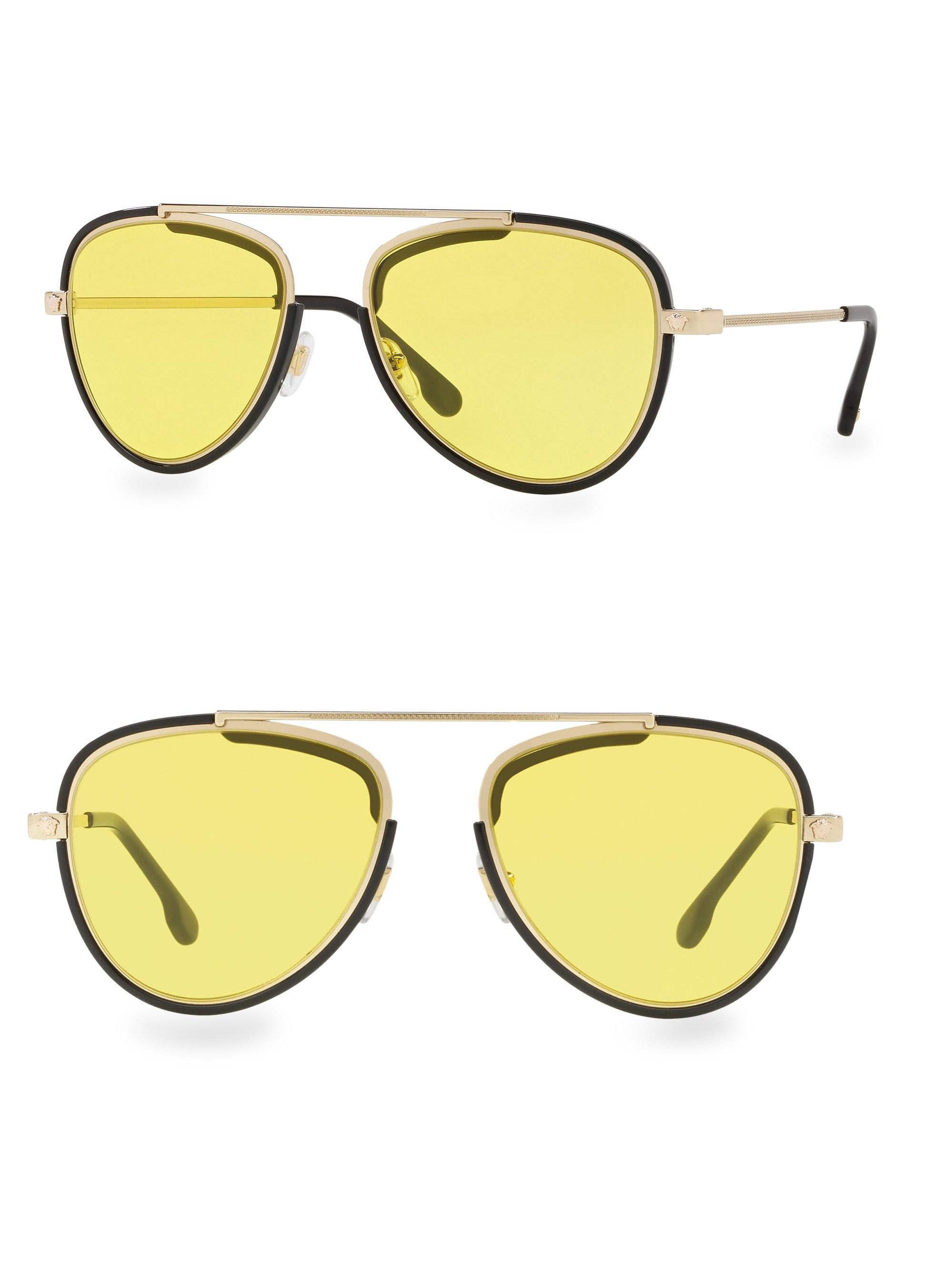 ee5985dee6f Lyst - Versace 56mm Aviator Sunglasses in Metallic for Men