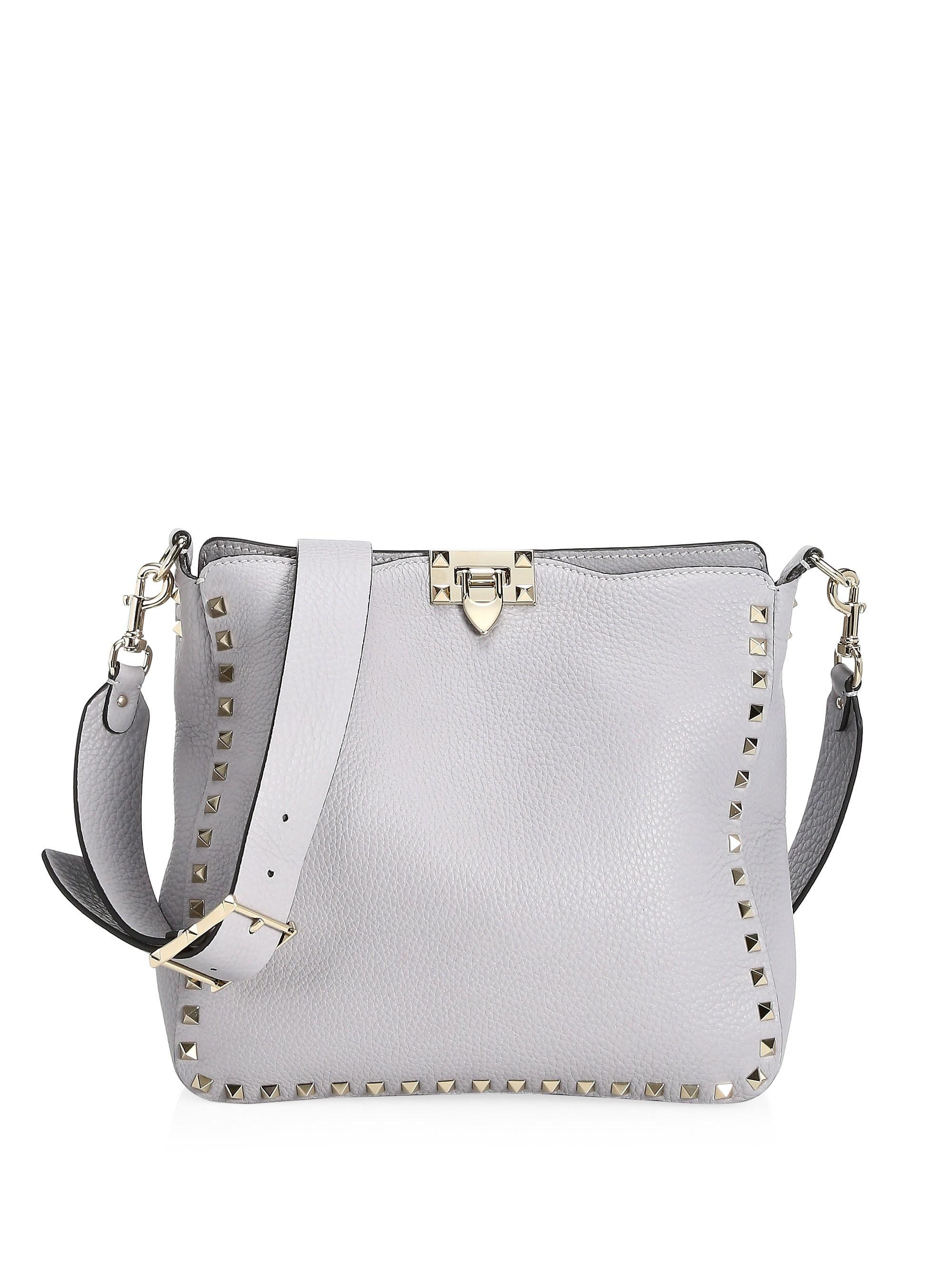 056b3cd4a7 Valentino Small Rockstud Utilitarian Shoulder Bag in Gray - Lyst