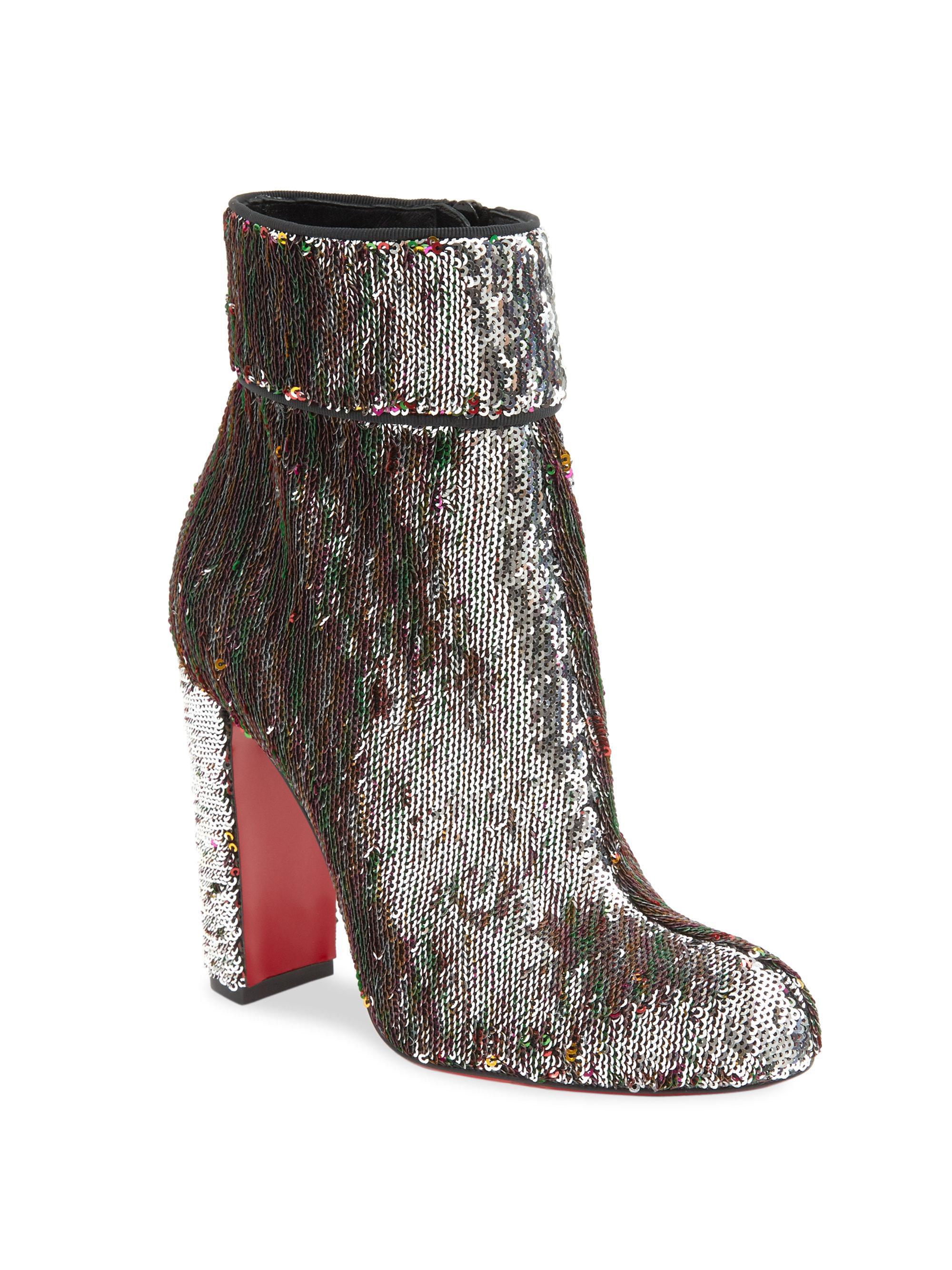 1724074e2d68 Lyst - Christian Louboutin Moulamax 85 Sequin Block Heel Booties