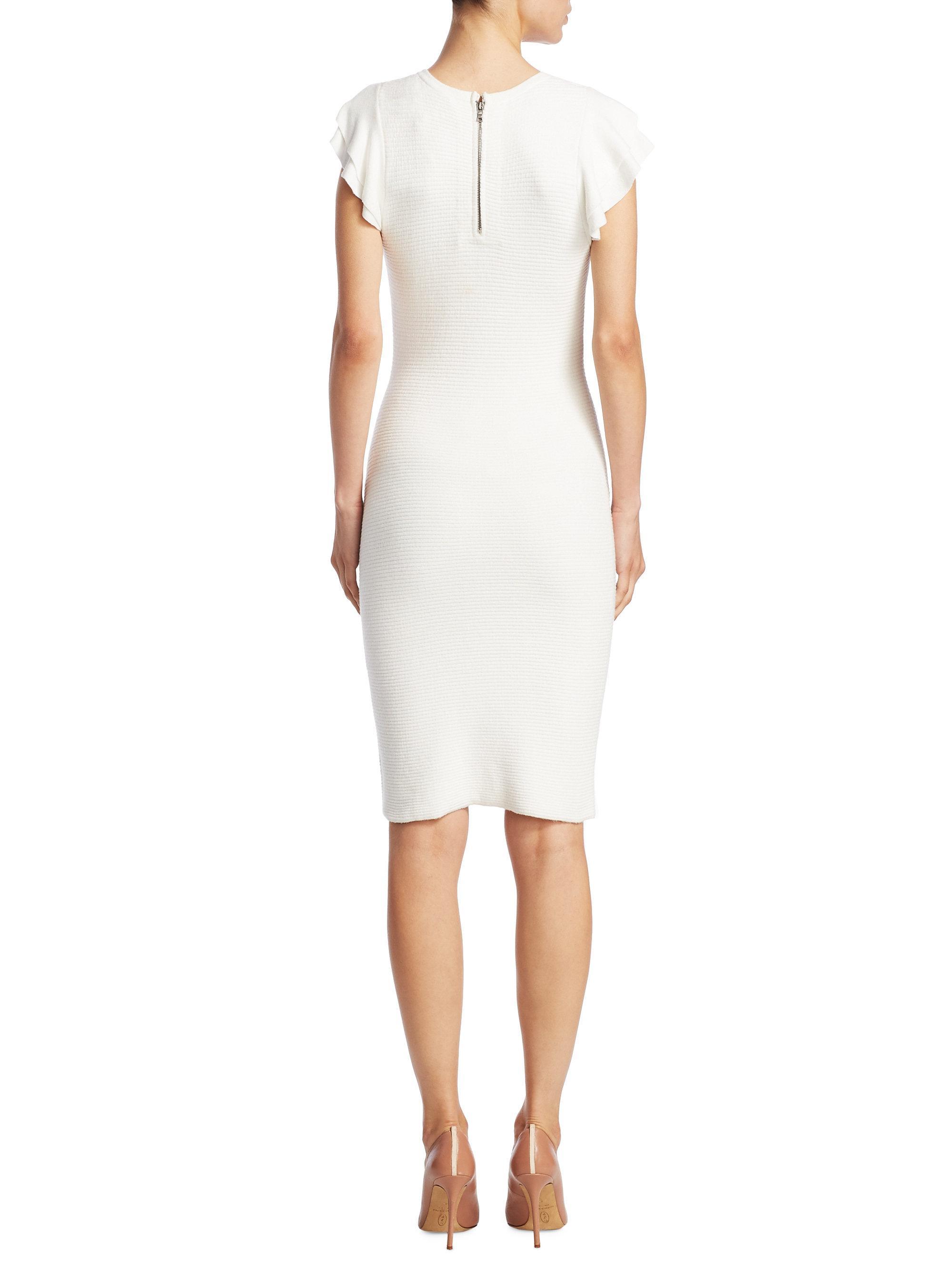 9ad2fd63a6 Lyst - Alice + Olivia Kellin Ruffle Sleeve Sheath Dress in White
