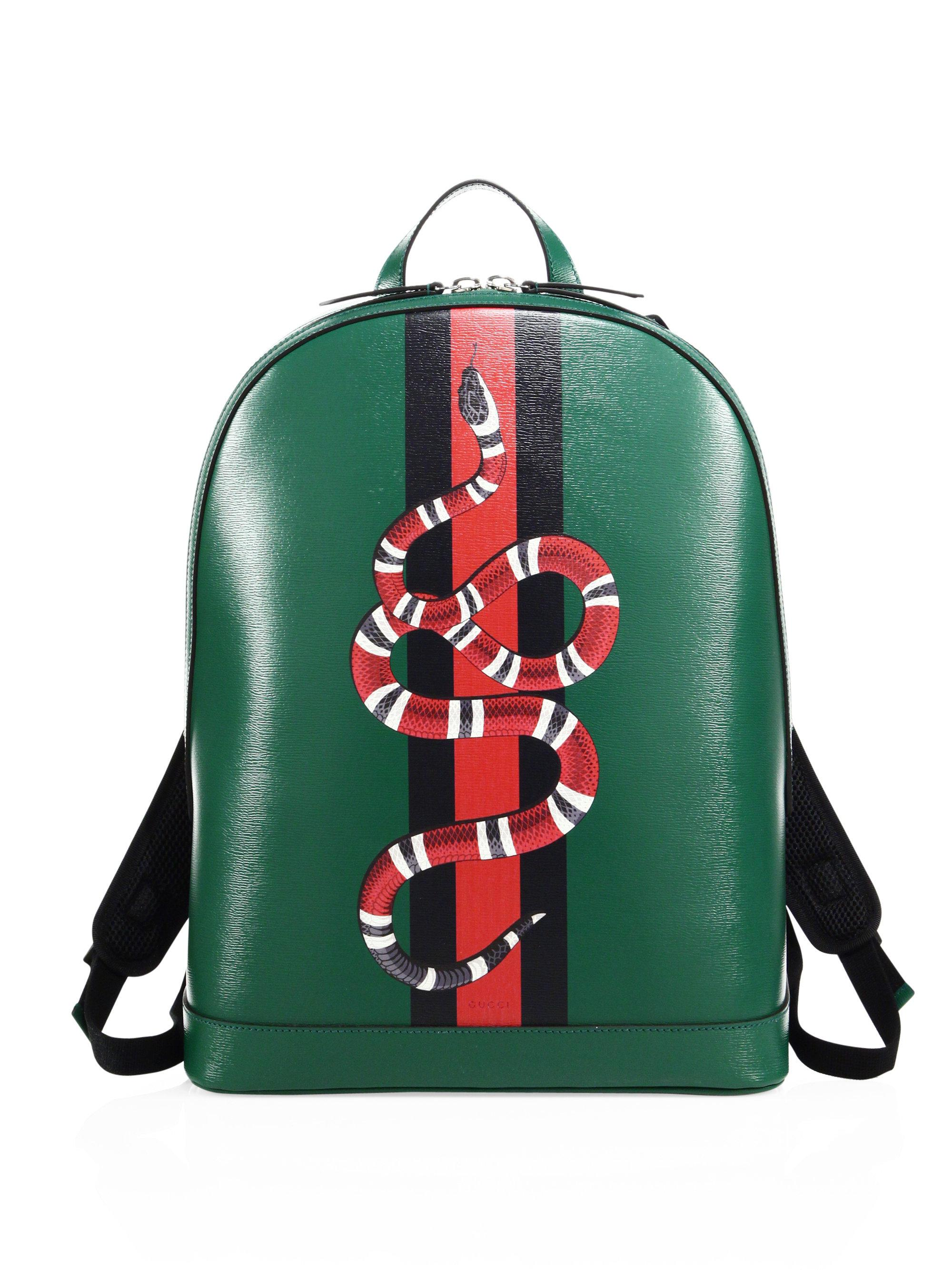 Gucci Snake Printed Leather Backpack in Green for Men - Lyst bad8accb0d