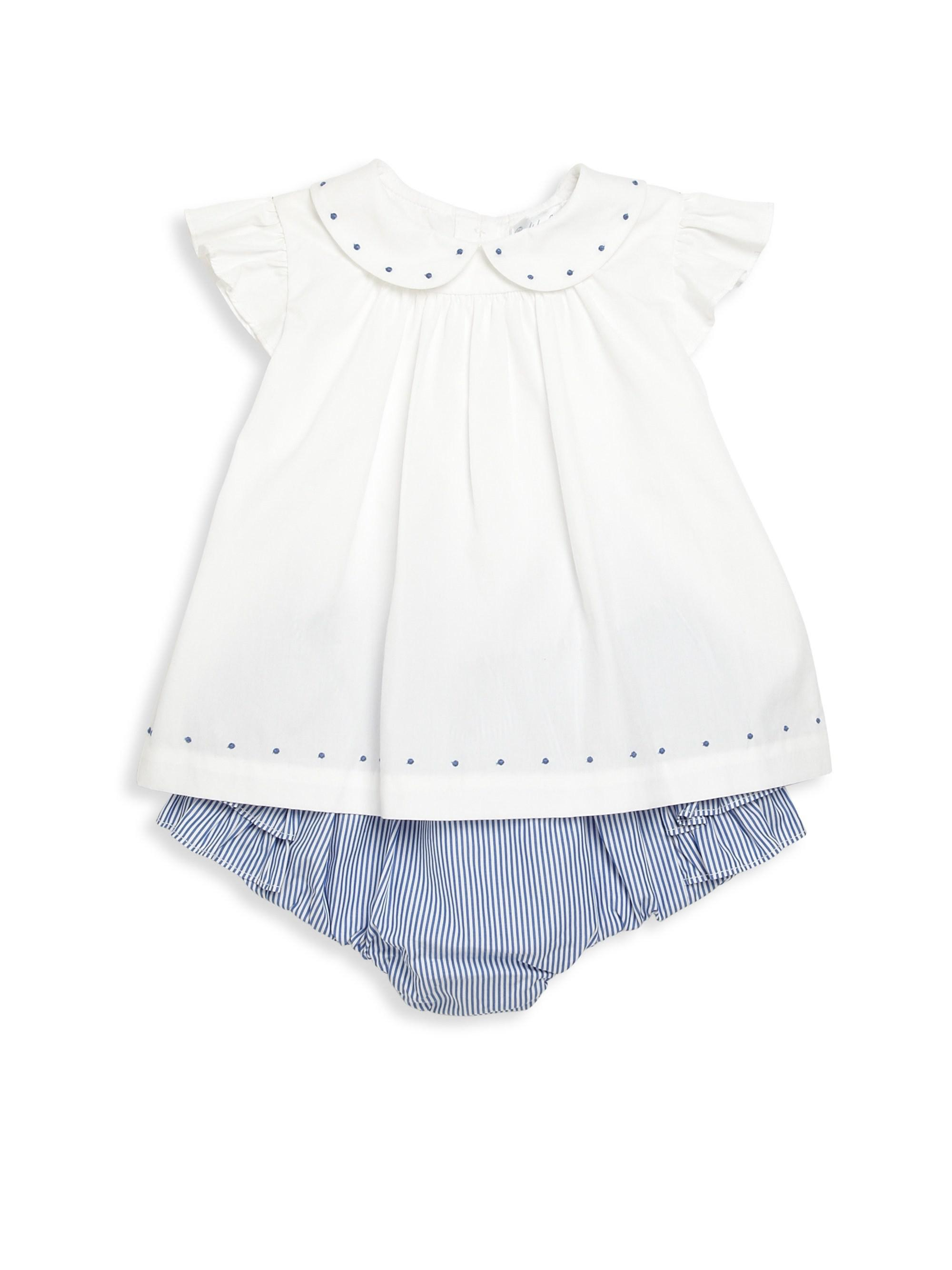 da3ee397e2ade Ralph Lauren Baby Girl s Two-piece Embroidered Top   Ruffle Bloomers ...