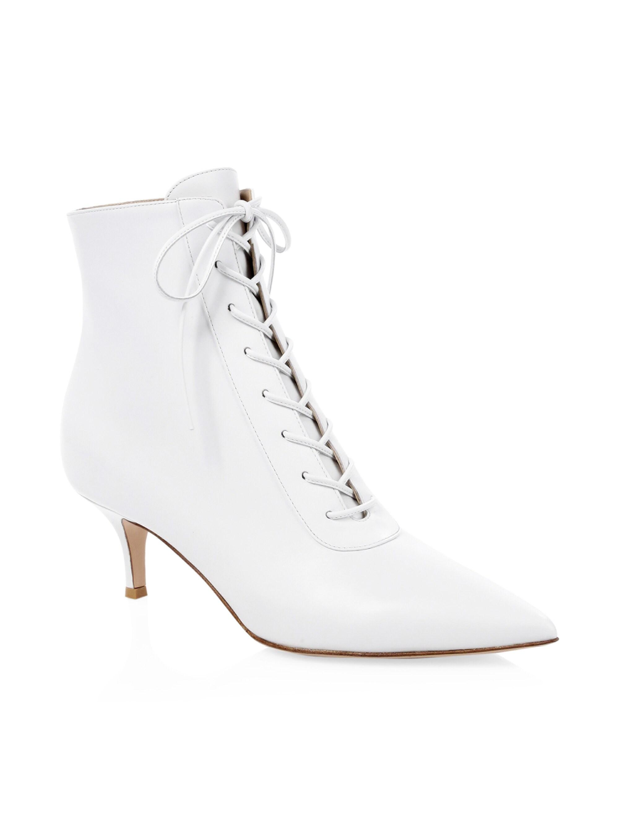 57525ce2fd Gianvito Rossi Leather Lace-up Kitten Heel Booties in White - Lyst