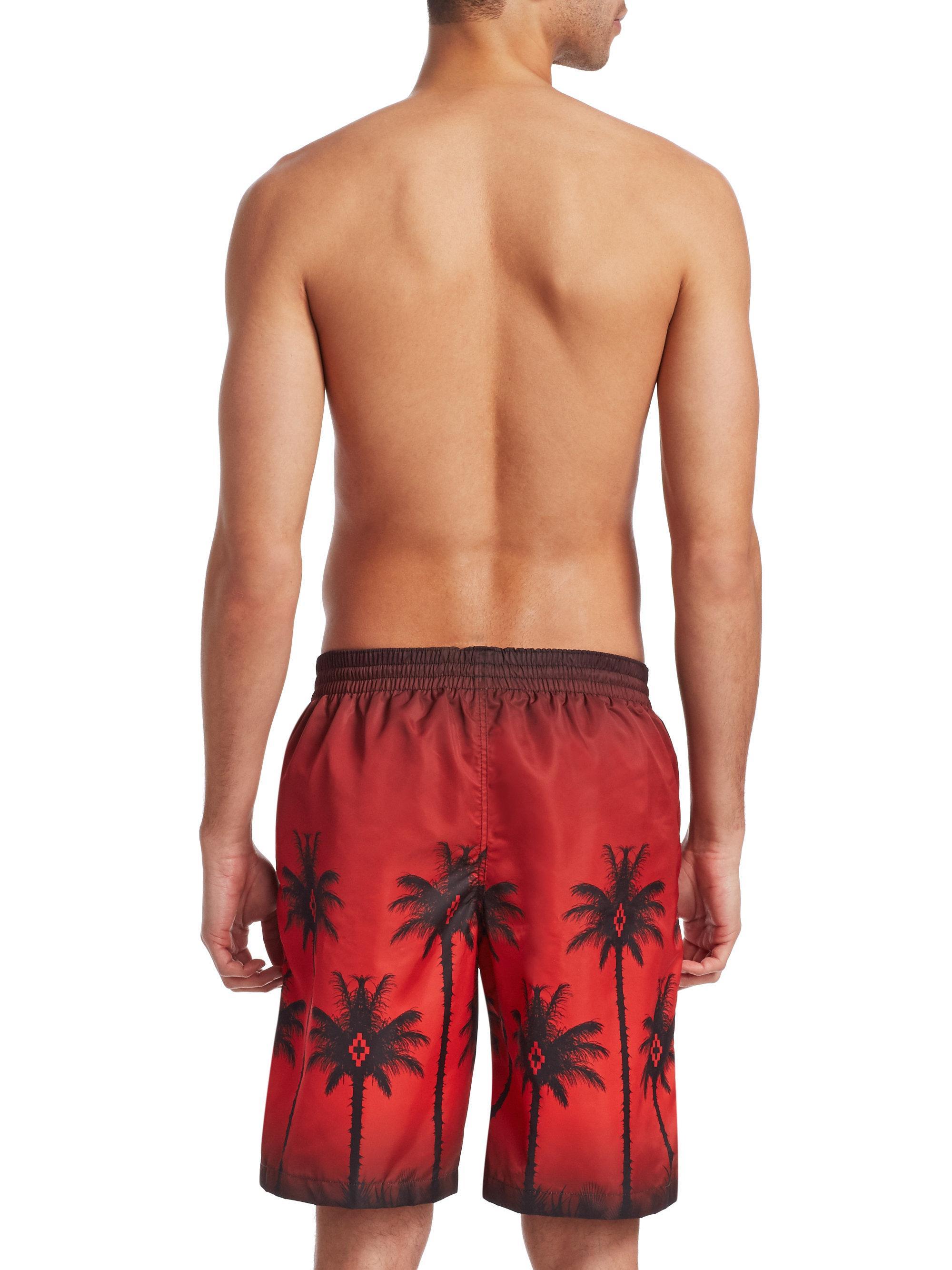 f34826f67b Marcelo Burlon Palm Tree-print Swim Shorts in Red for Men - Lyst