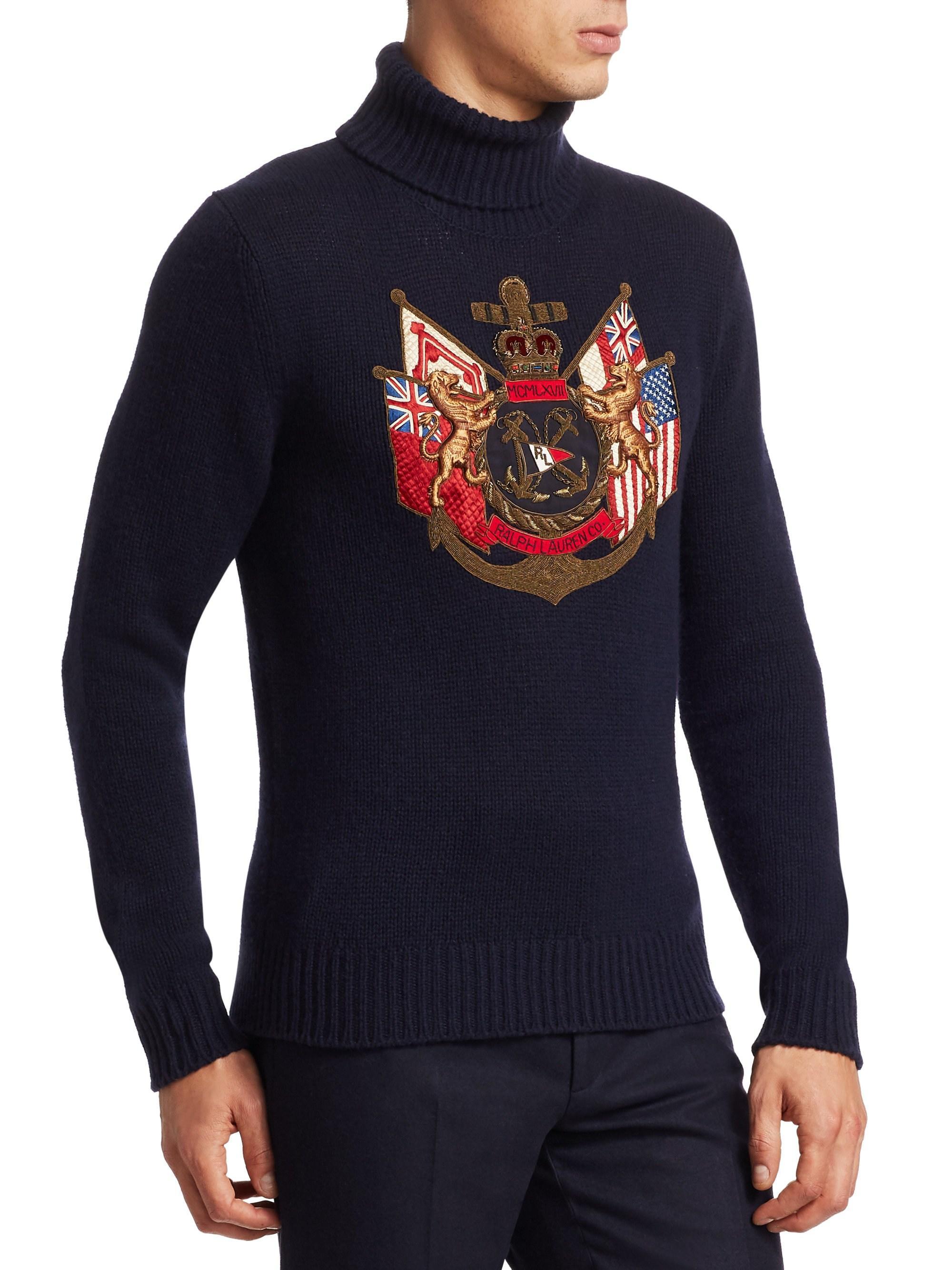 13ca83755 Ralph Lauren Purple Label Men s Embroidered Cashmere Turtleneck ...