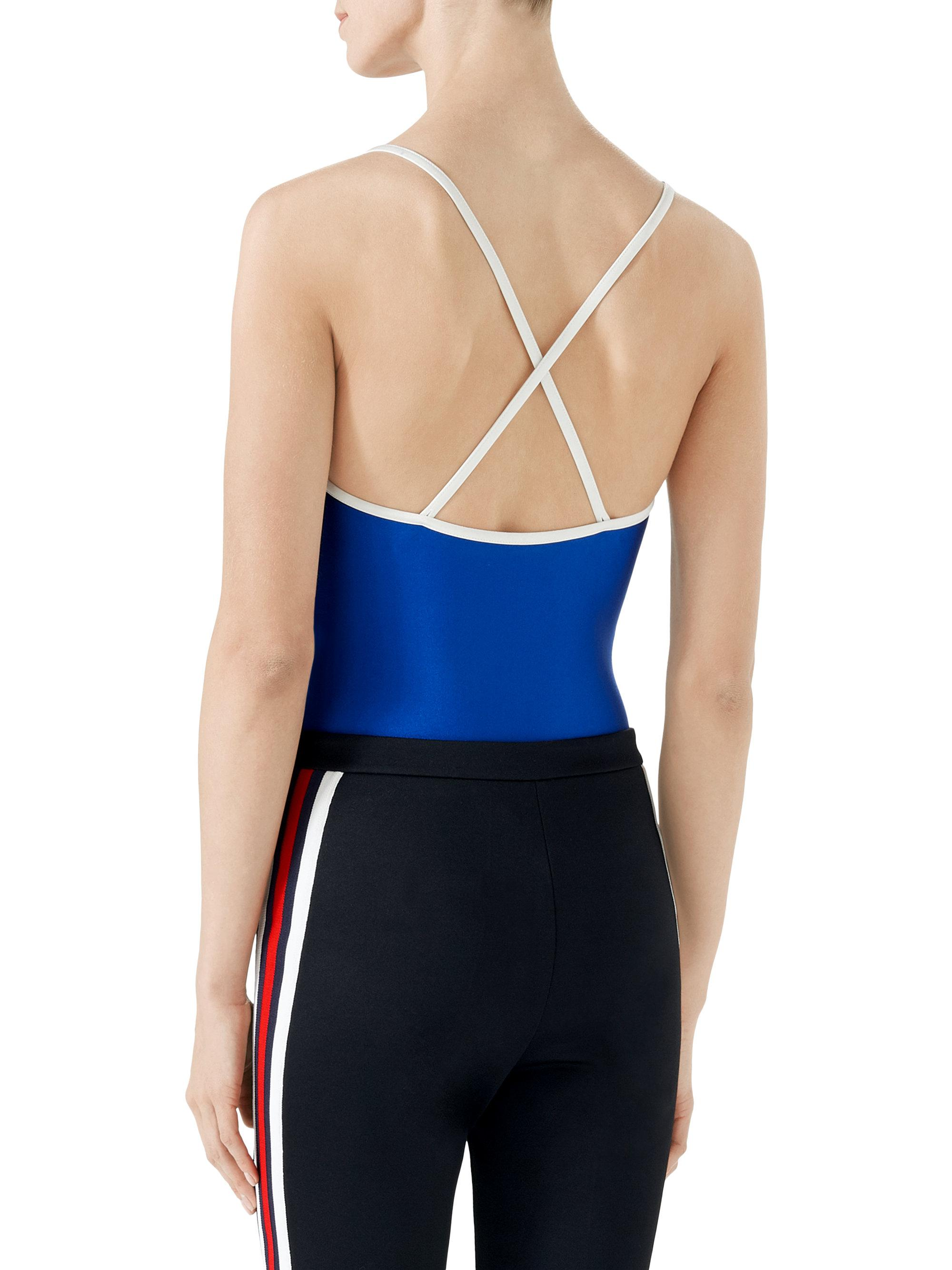 827a668a62cf65 Gucci Print Sparkling Bodysuit in Blue - Lyst