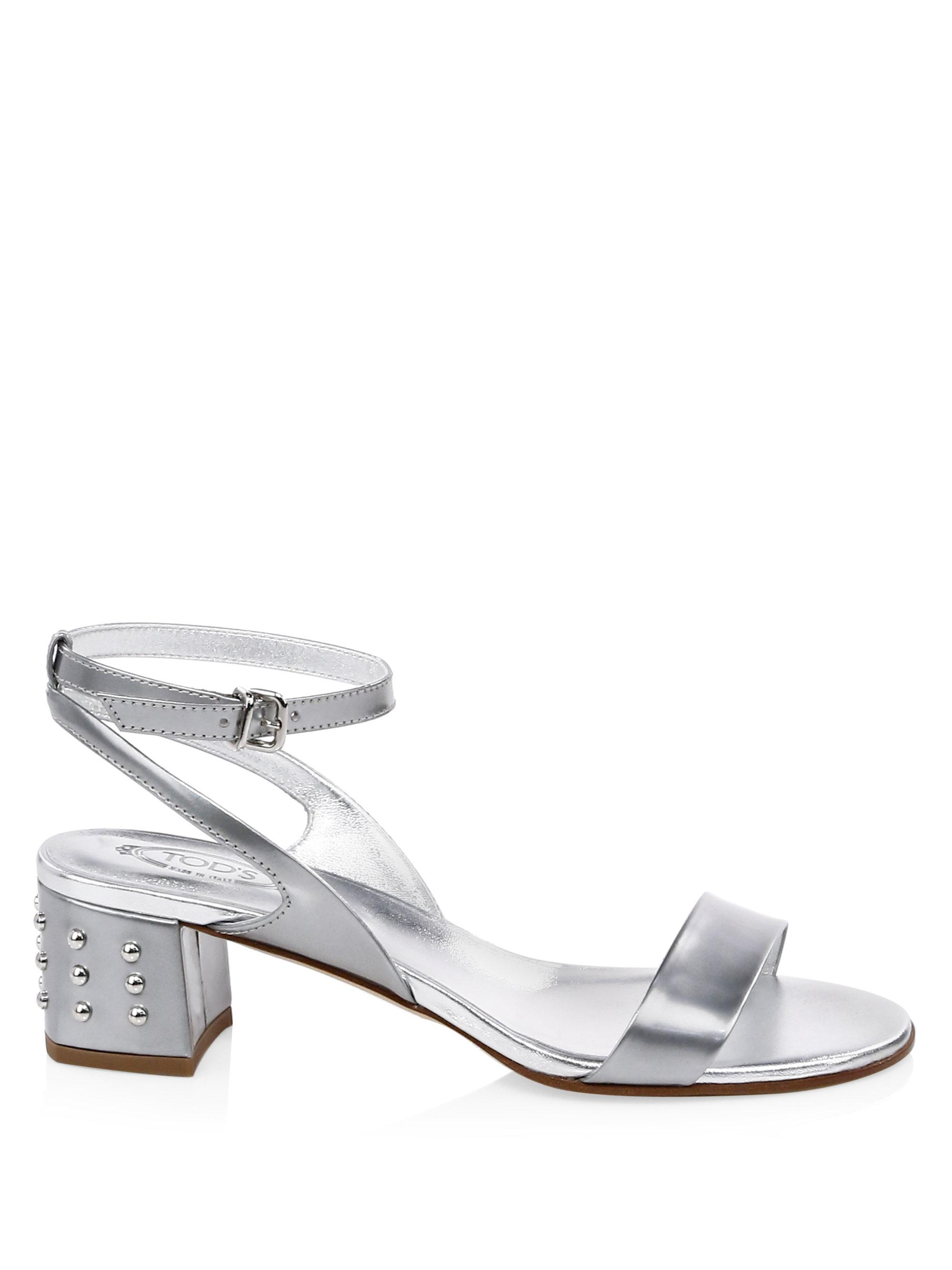Tod's Metallic Leather Slingback Sandals N8l23J