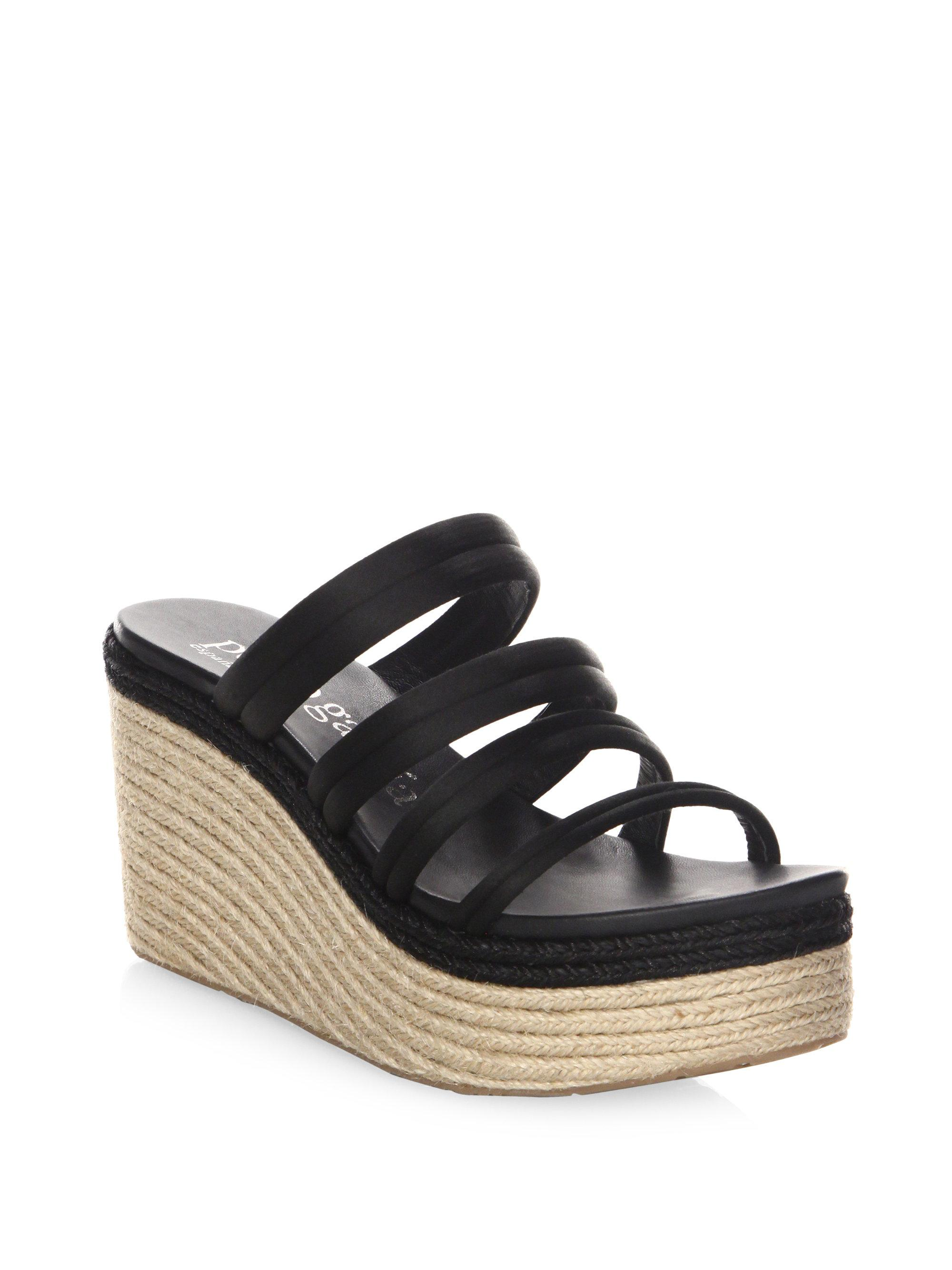 7122a3eadea Pedro Garcia Dante Wedge Sandals in Black - Lyst