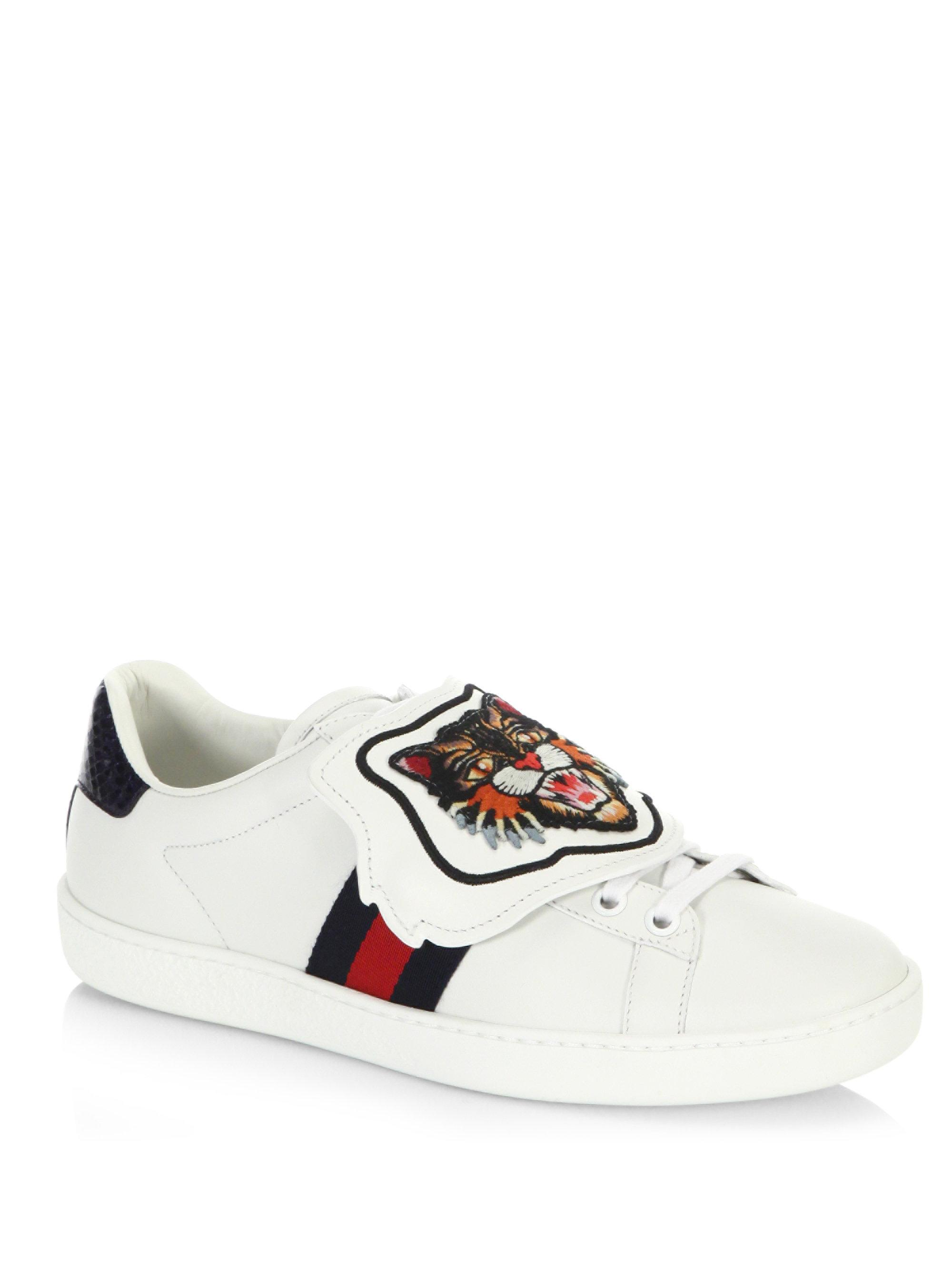 0c85598b3 Gucci New Ace Lion Patch Sneakers in White - Lyst