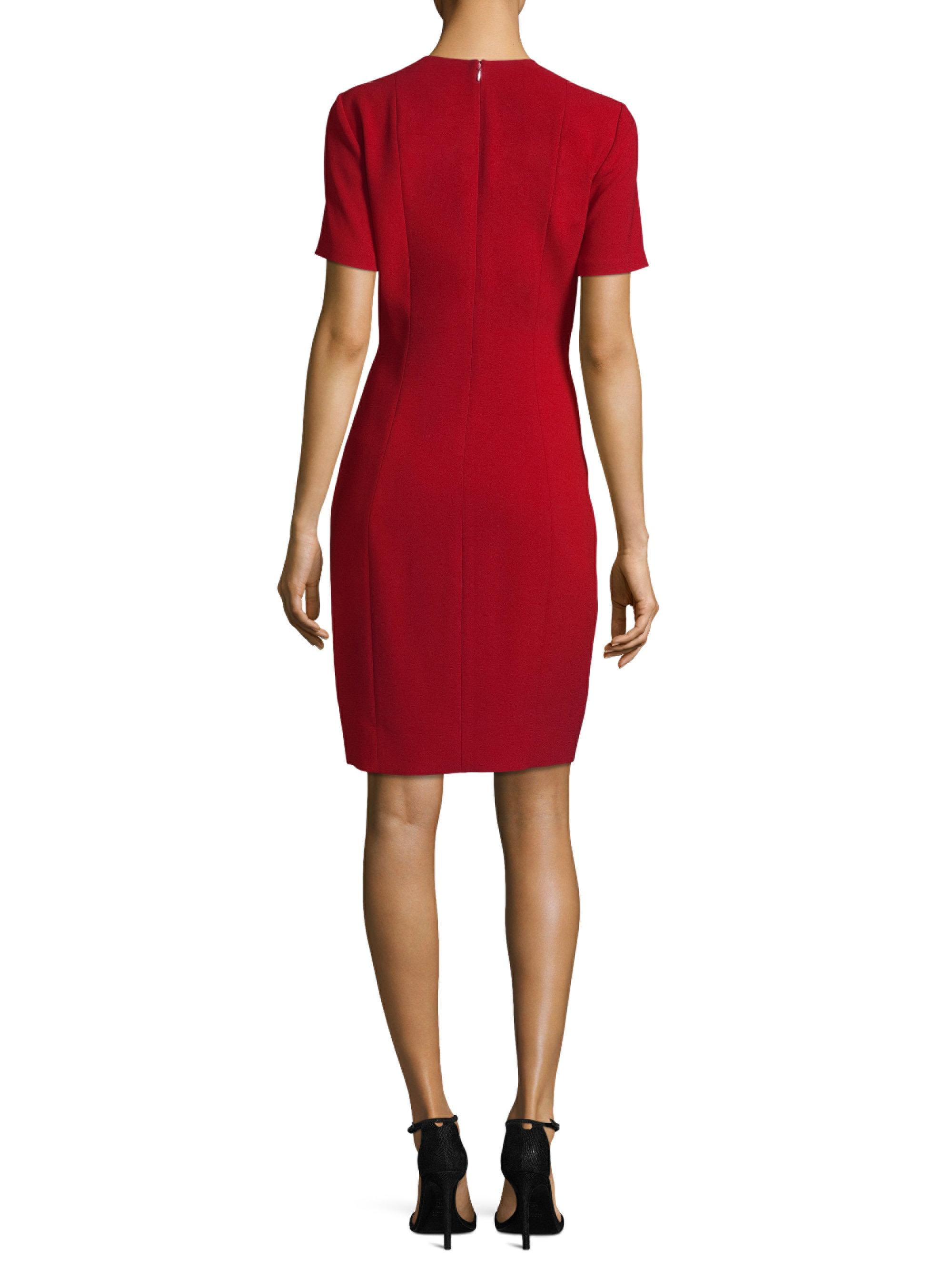 Elie tahari roanna dress satin sheath dress in red lyst for Saks fifth avenue wedding guest dresses