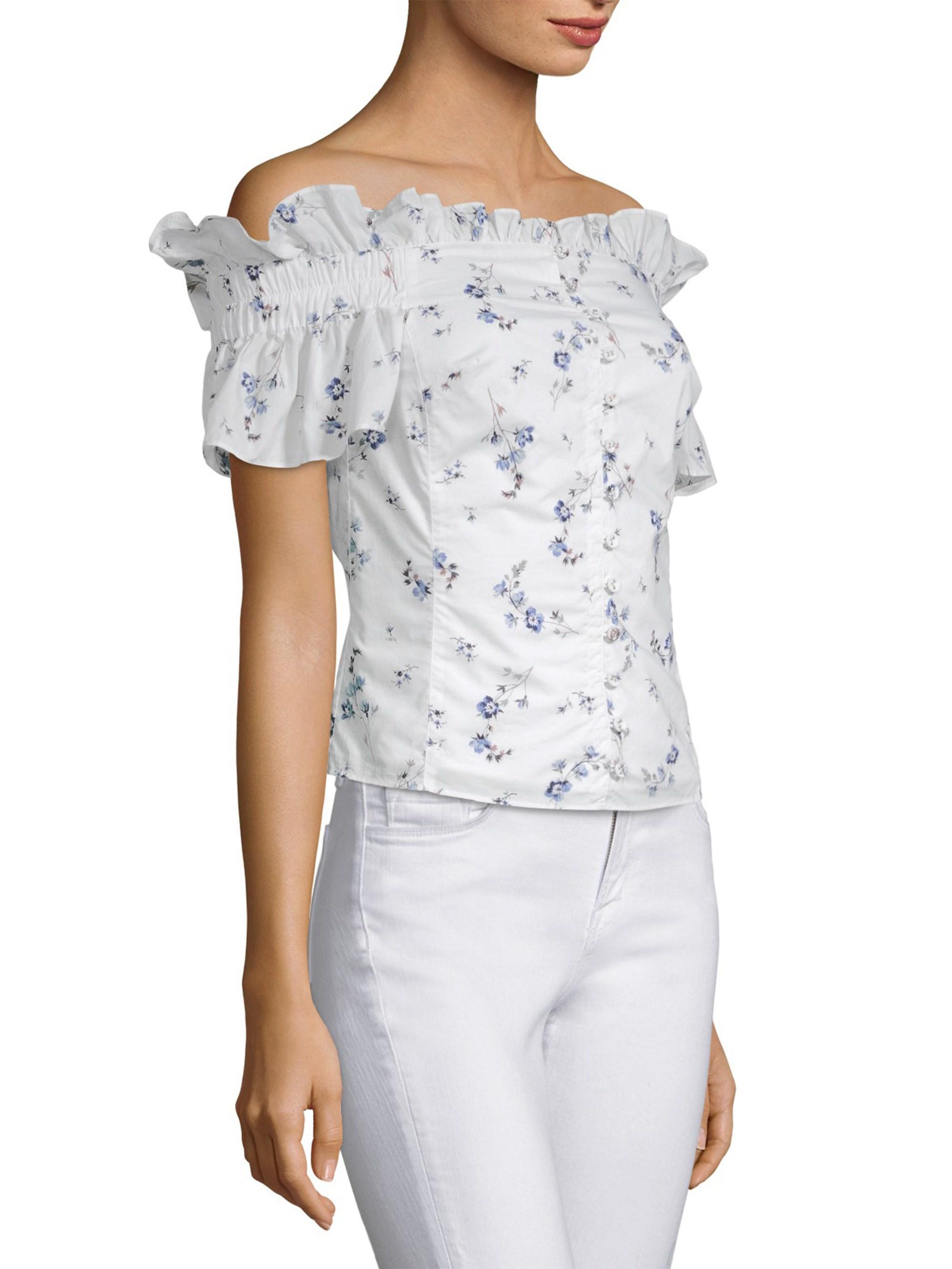 682b71bdfe Lyst - Rebecca Taylor Francine Off-the-shoulder Top