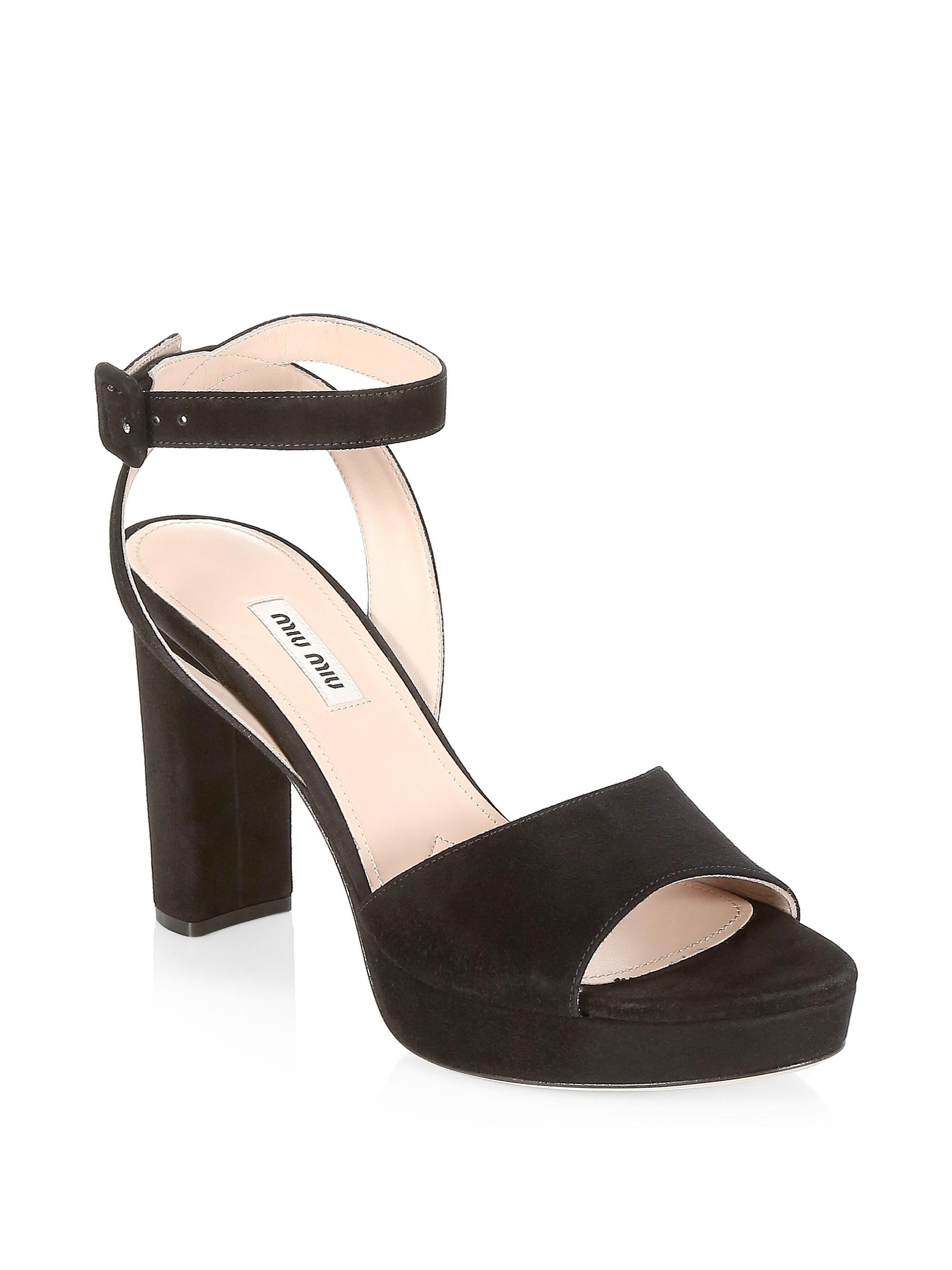 8f324ea1ea5 Miu Miu Suede Block Heel Platform Sandals in Black - Lyst