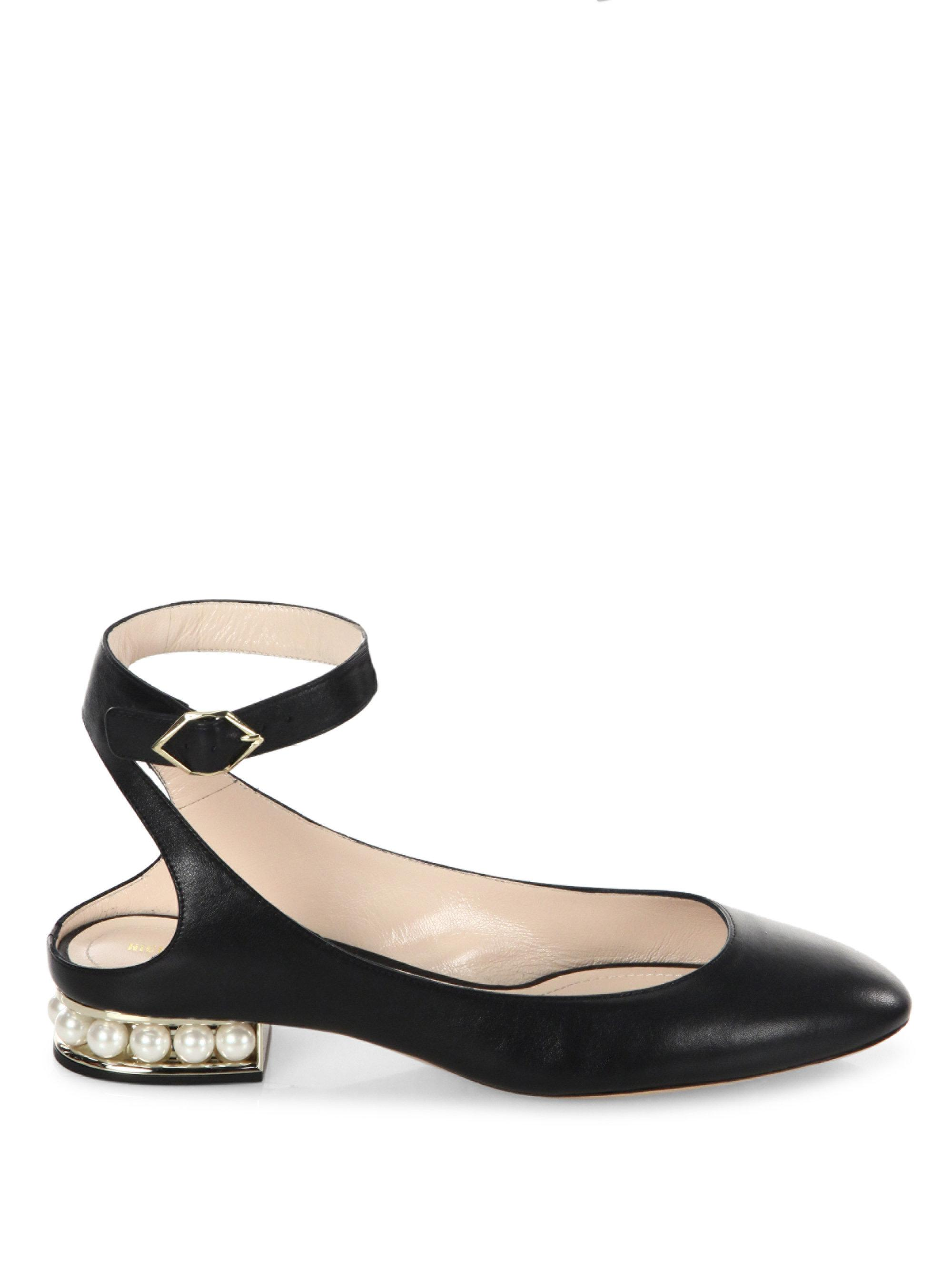 Nicholas Kirkwood - Black Lola Pearl Leather Ankle Strap Ballet Flats -  Lyst. View Fullscreen
