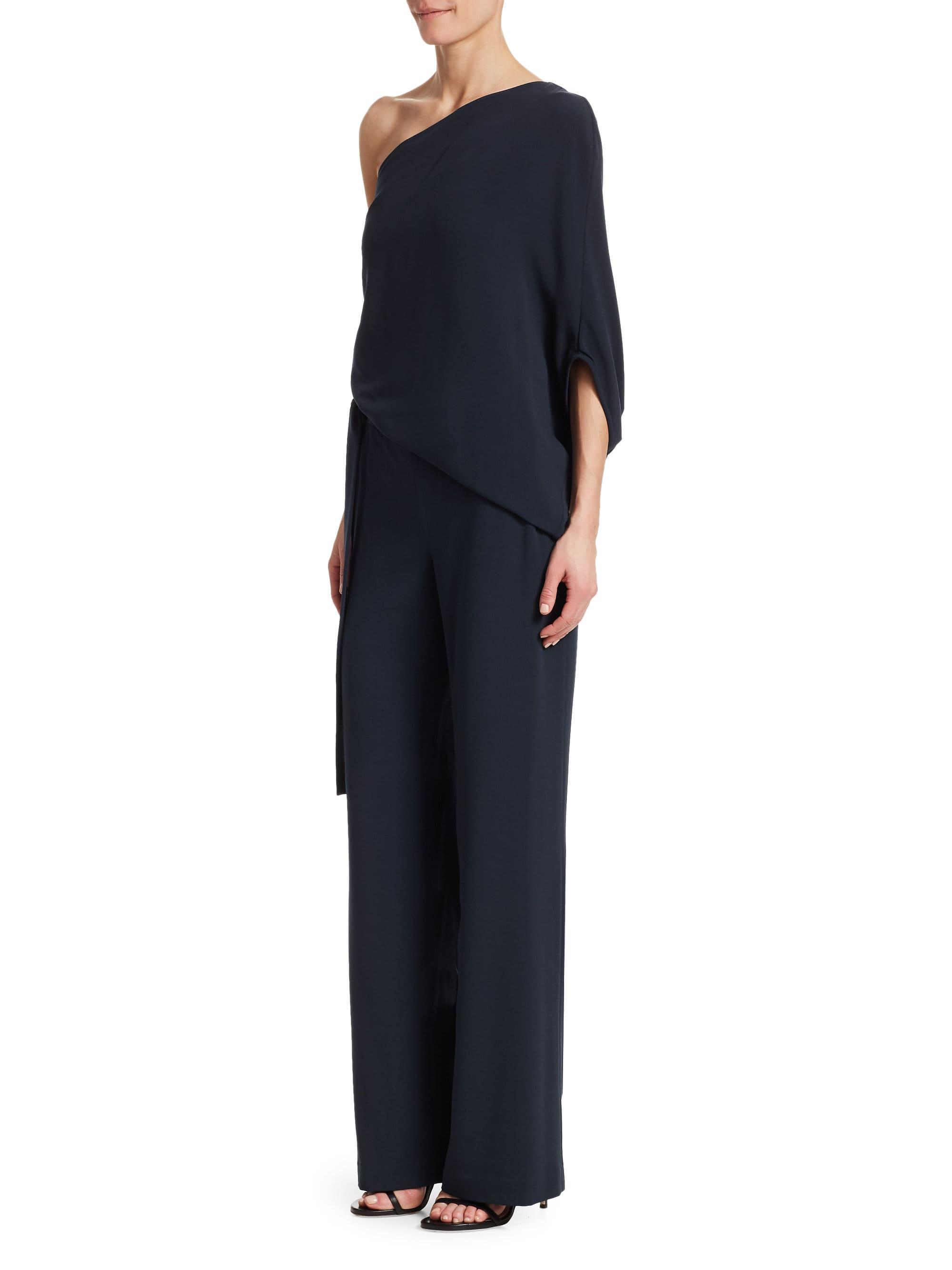 a9b4ae899d26 Halston Heritage - Blue Asymmetric Wide Leg Jumpsuit - Lyst. View fullscreen