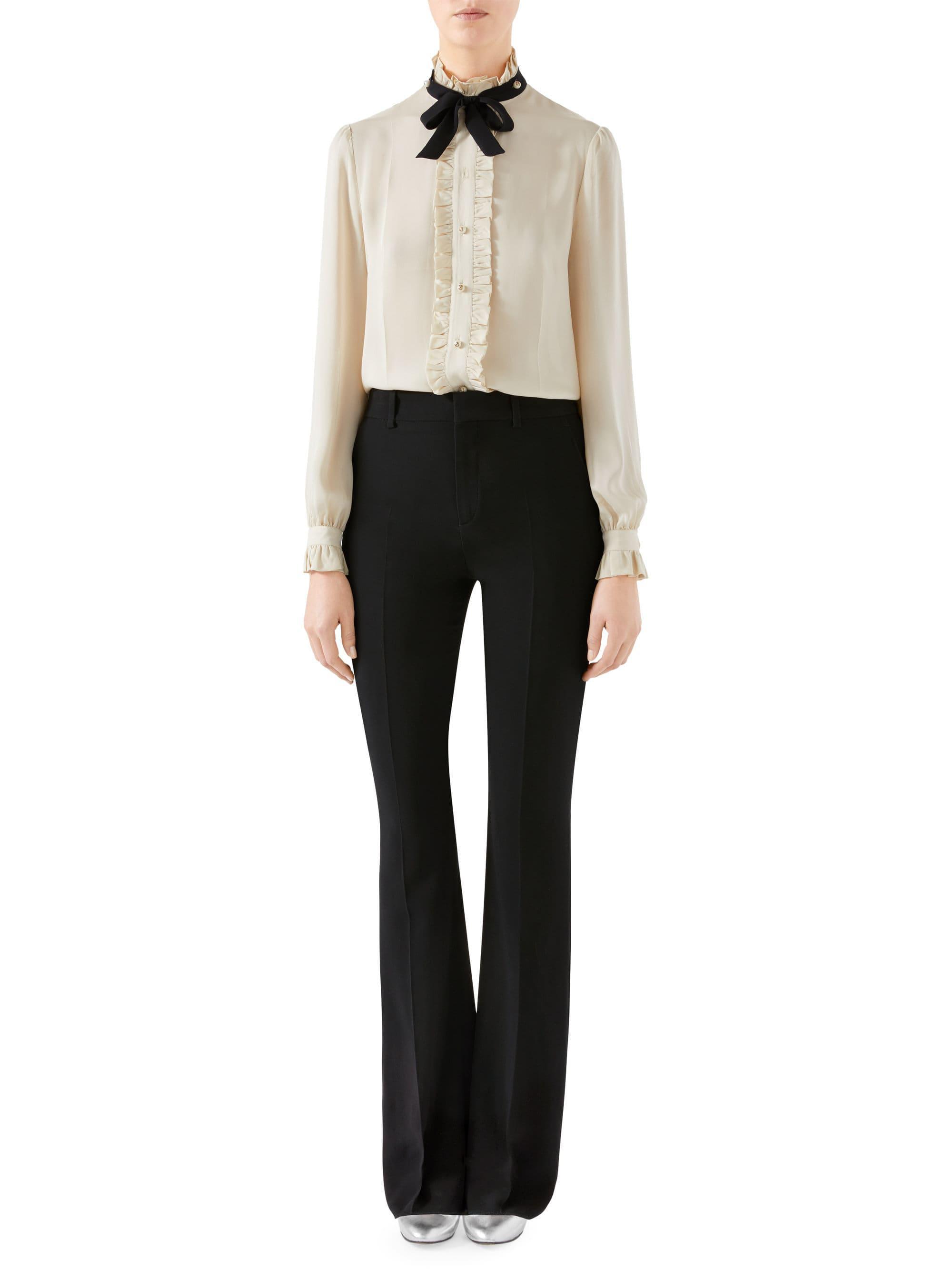 454230656 Gucci - White Silk Ruffle Tie Blouse - Lyst. View fullscreen