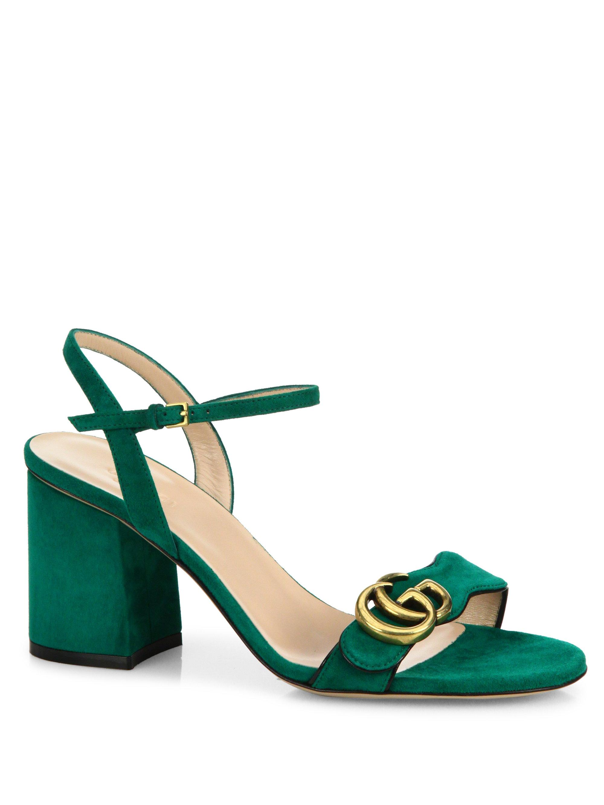 a68f7c61e56e Lyst - Gucci Marmont Suede Block Heel Sandals in Green