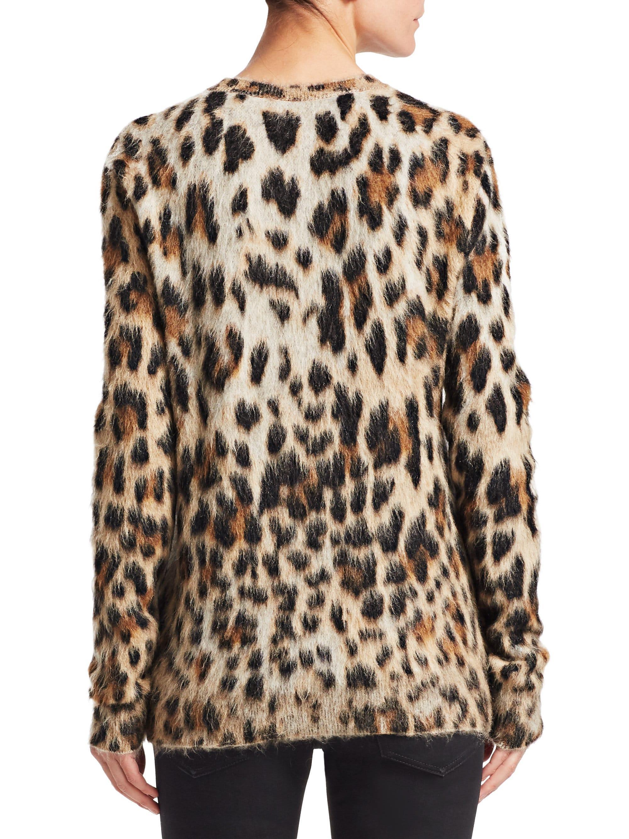 6e04addeeb3a Lyst - Saint Laurent Leopard Print Knit Crewneck Sweater