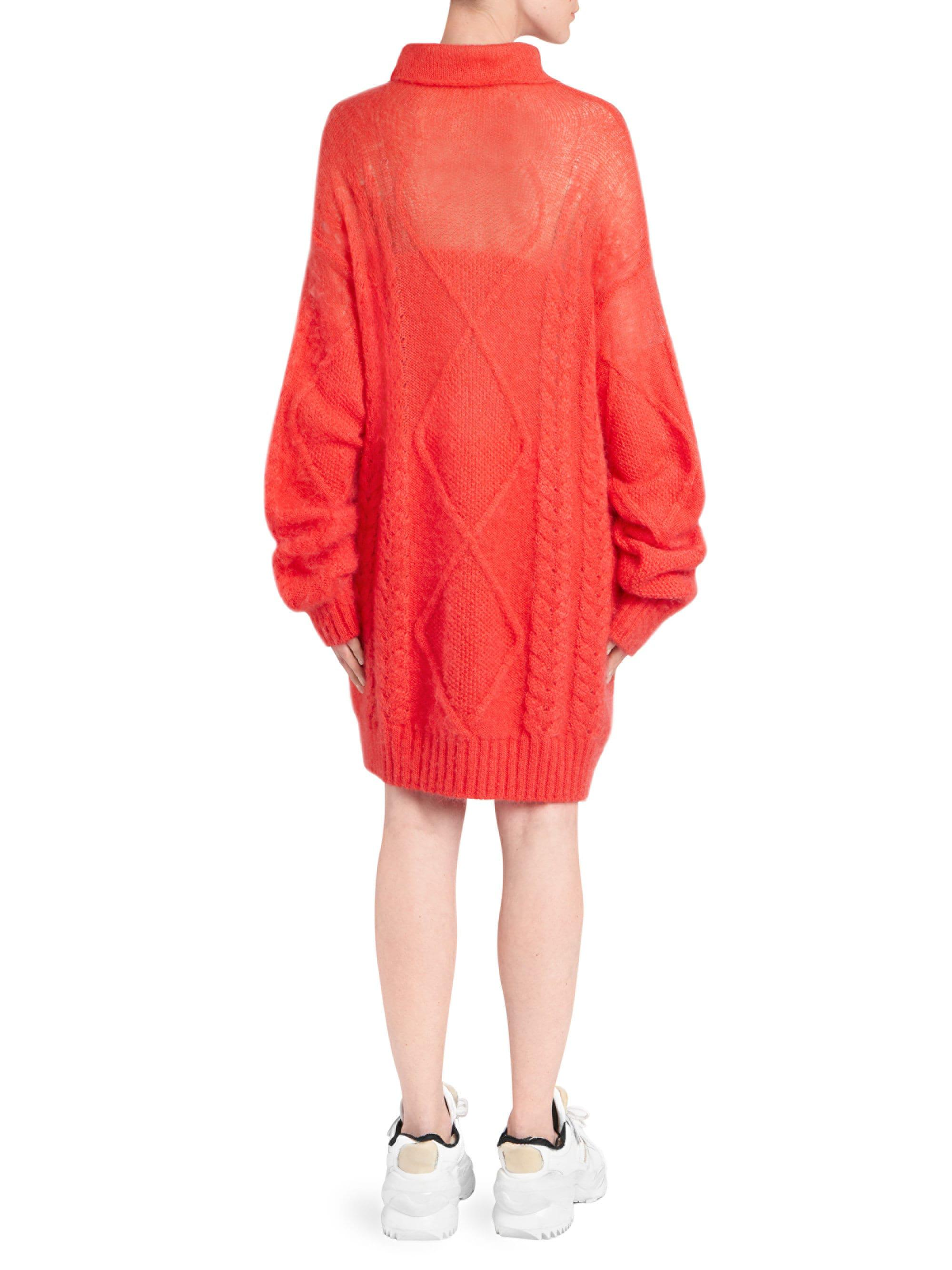a1af7339646 Maison Margiela Cable-knit Turtleneck Sweater Dress in Red - Lyst