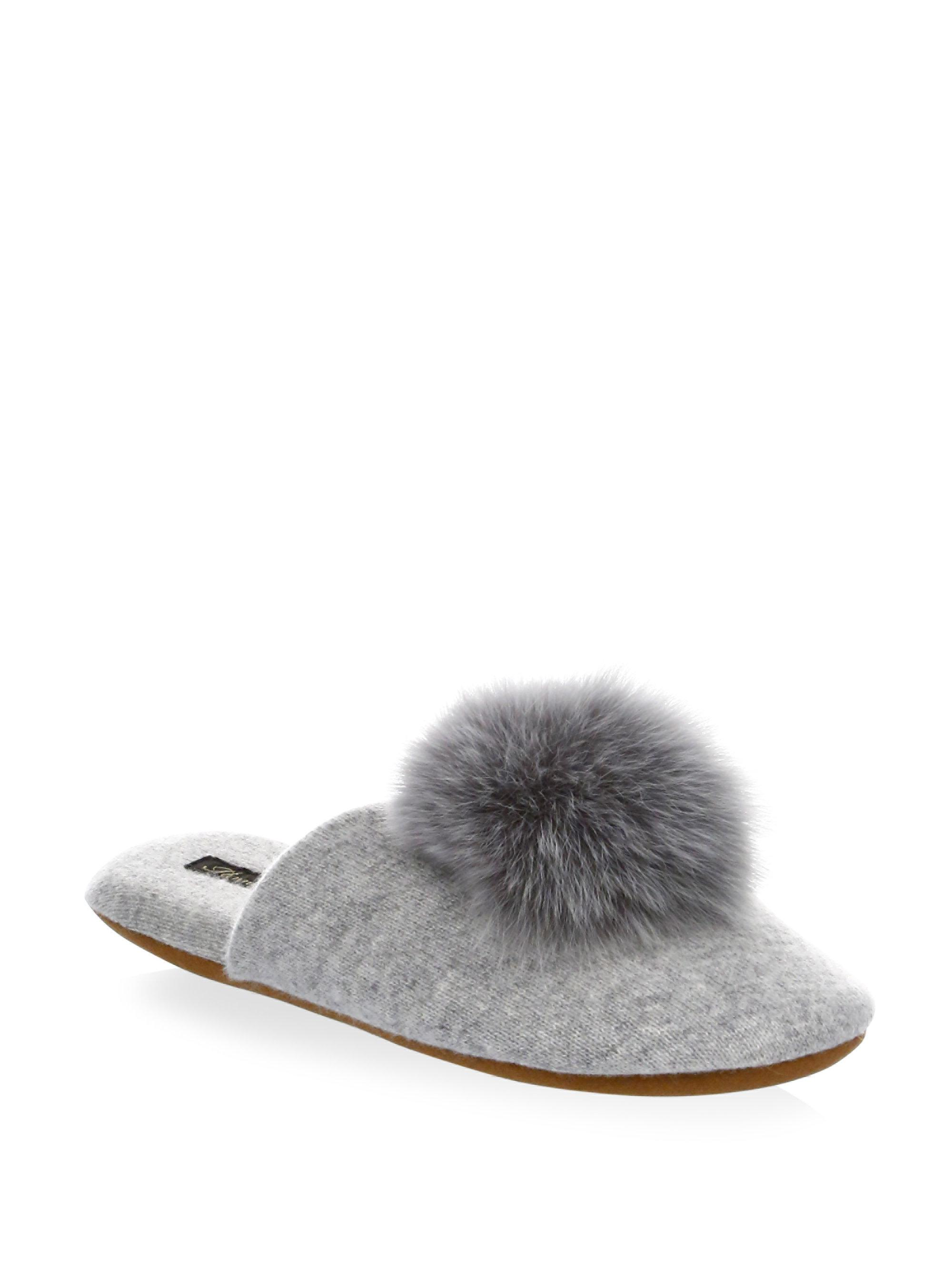 MINNIE ROSE Fox Fur Pom-Pom Slides SxP72RE5OK