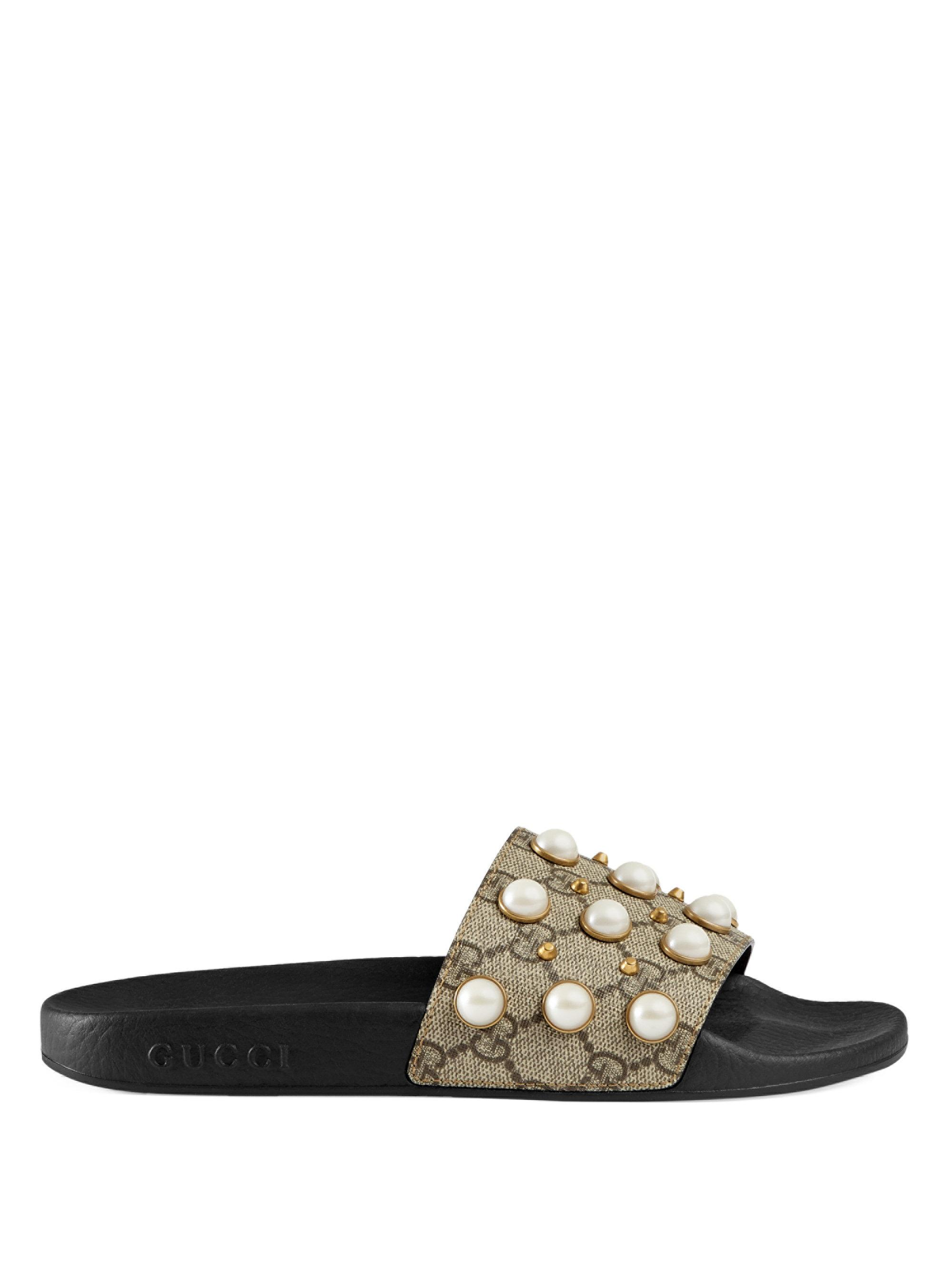 Gucci - Natural Pursuit Pearly Embellished Gg Supreme Slides - Lyst. View  fullscreen