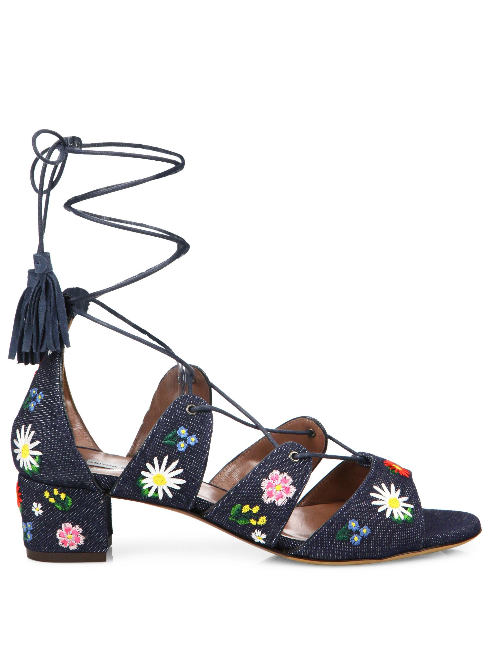 Tabitha Simmons Isadora Embroidered Denim Sandals 25KhA2F