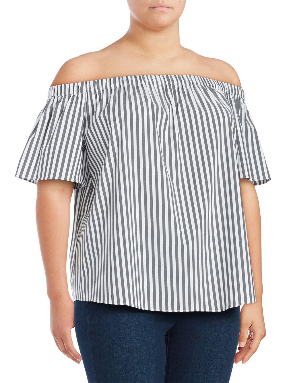 f4091936b337e Lyst - Vince Camuto Plus Striped Off-the-shoulder Top in Gray - Save 29%