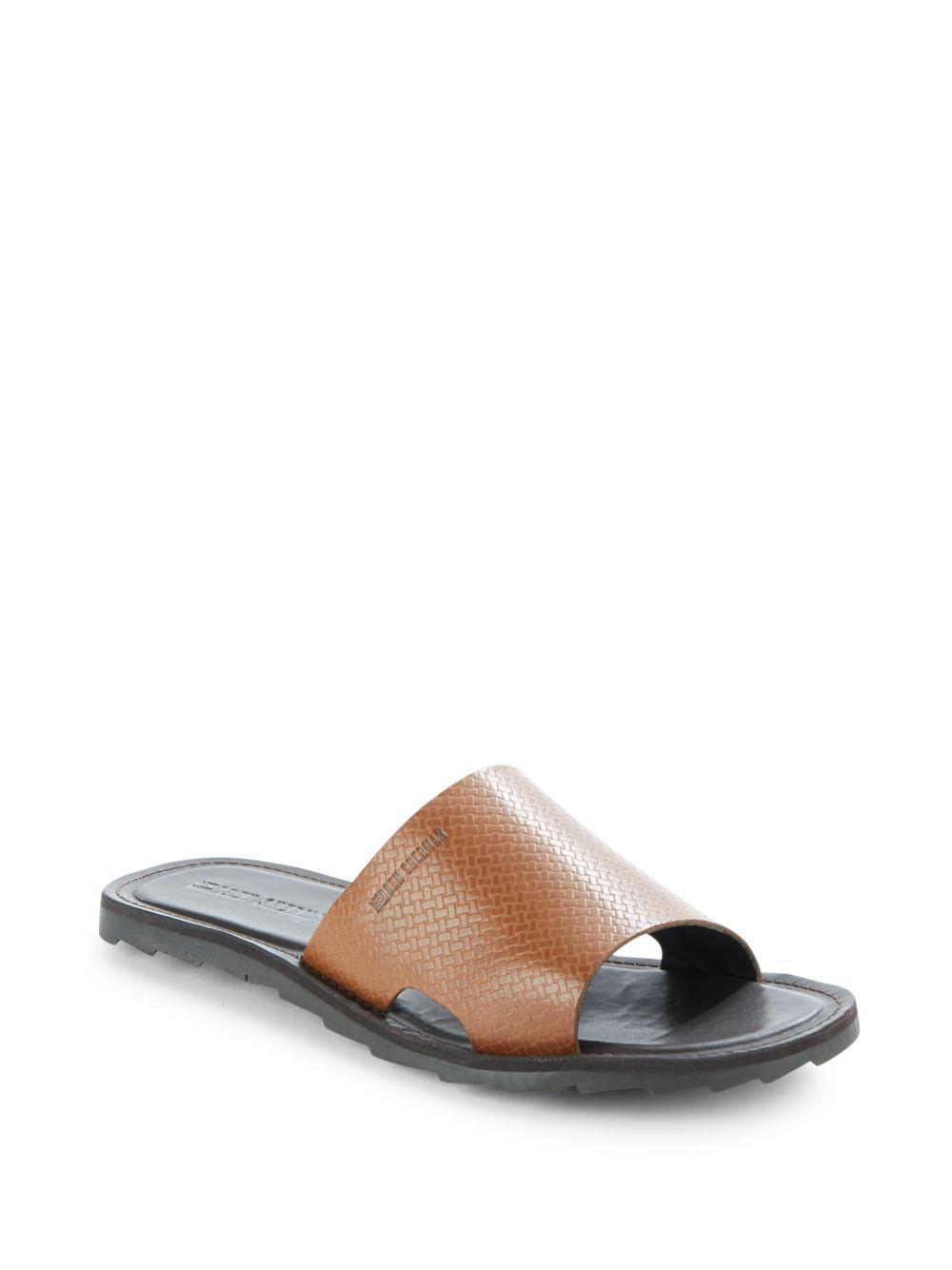 5b0ea23f61c Lyst - Ben Sherman Textured Leather Slide Sandals for Men