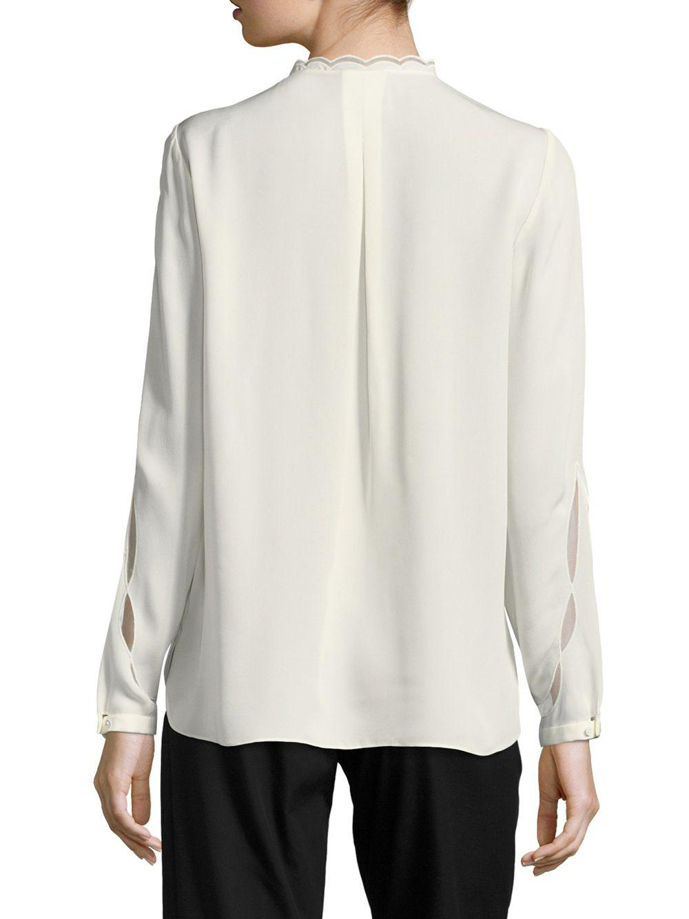 949d14a29c9f8 Elie Tahari - White Justina Long-sleeve Silk-blend Blouse - Lyst. View  fullscreen