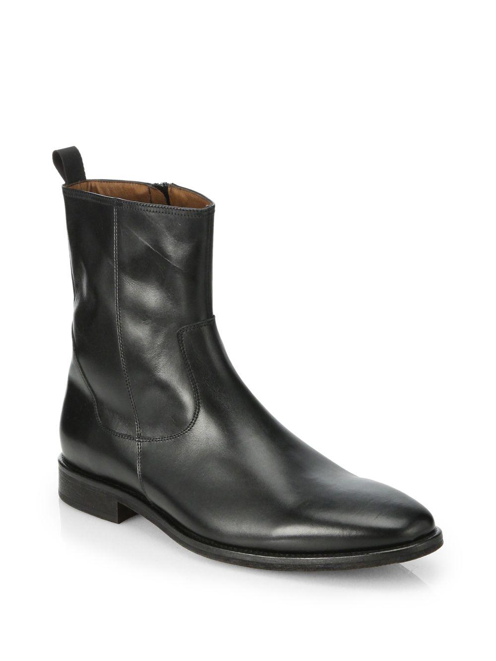 saks fifth avenue leather side zip boots in black for