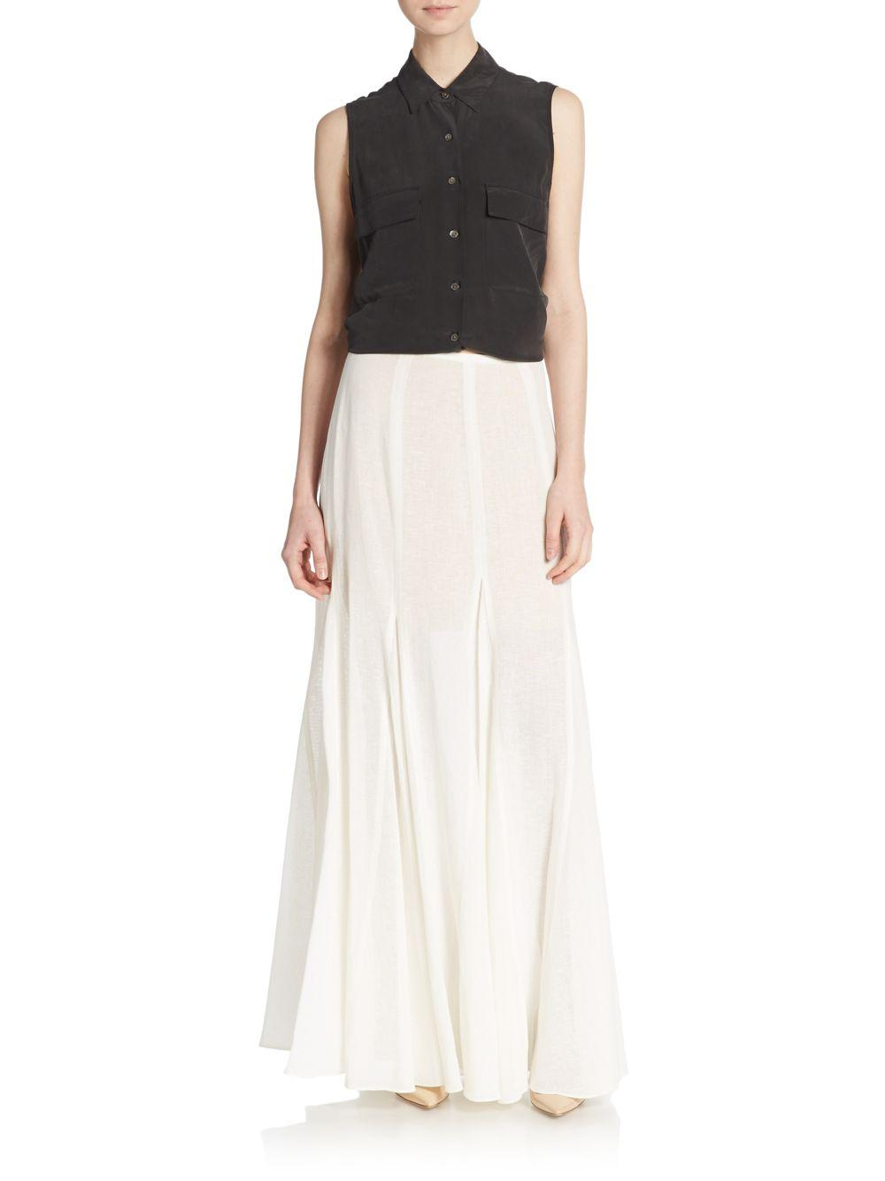 michael kors linen godet maxi skirt in white lyst