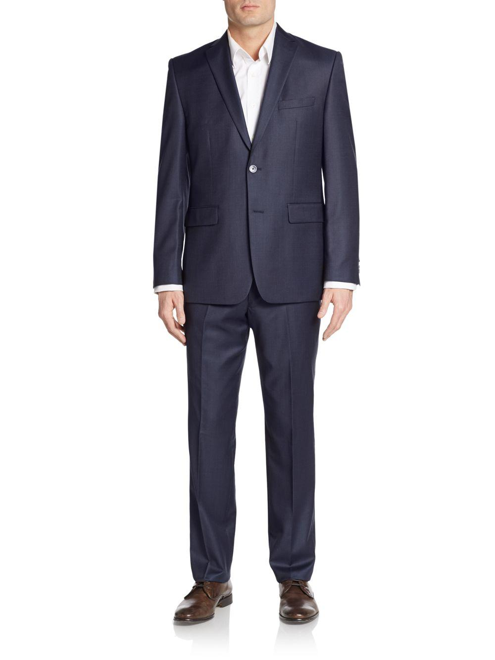 Vince camuto Modern-fit Sharkskin Wool Suit in Blue for ...