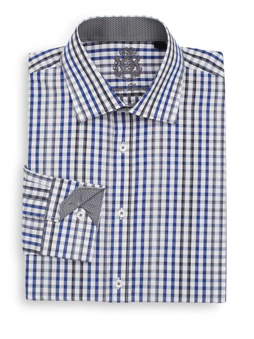 English laundry regular fit gingham dress shirt in blue for Regular fit dress shirt