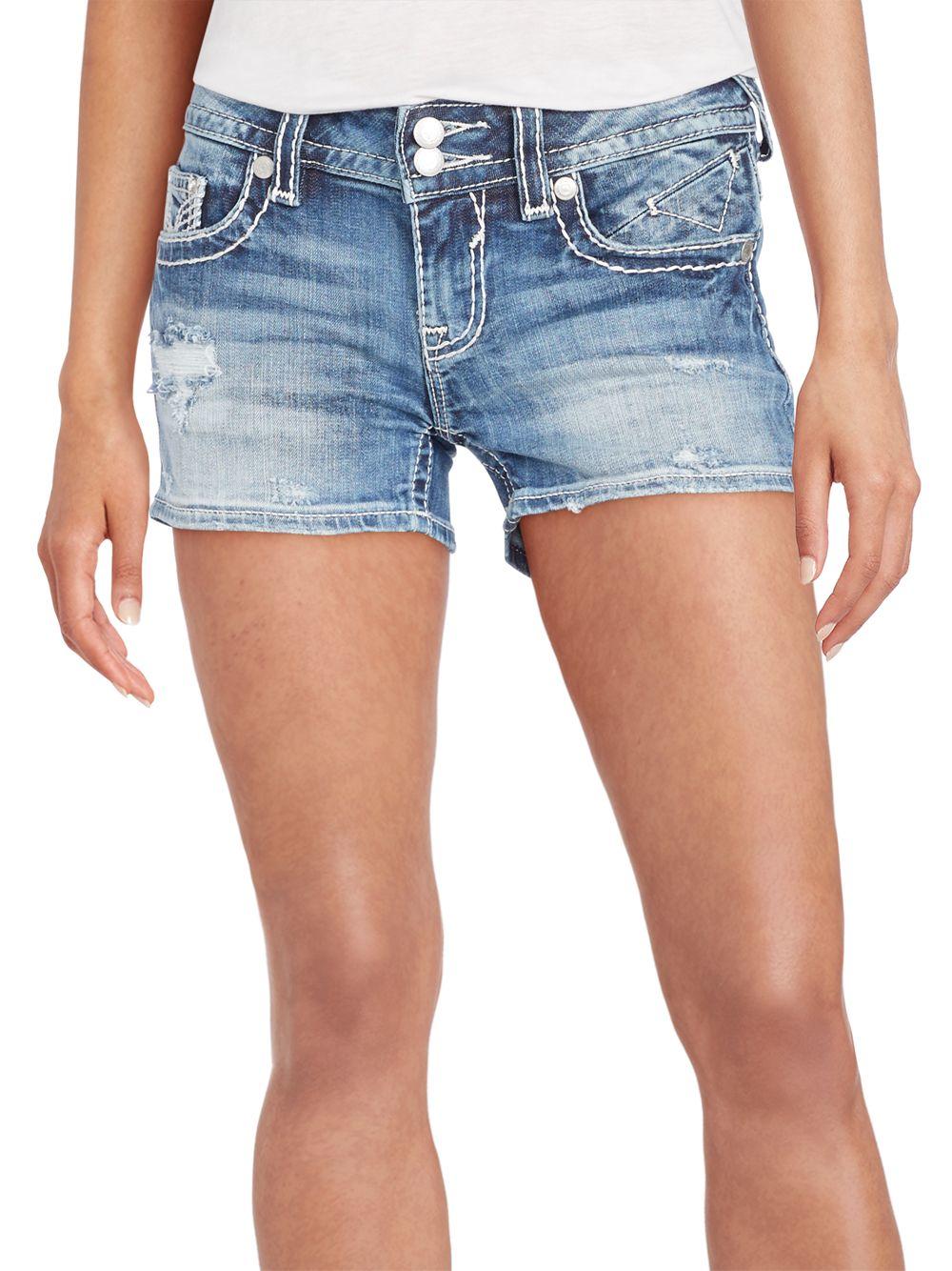 b0c7246f9a Lyst - Vigoss Distressed Denim Shorts in Blue