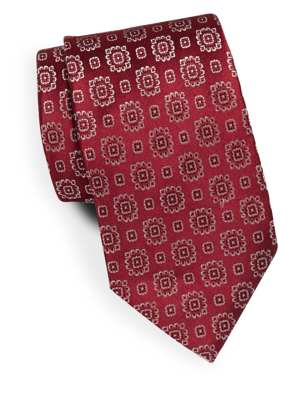 armani embossed italian silk tie in for lyst