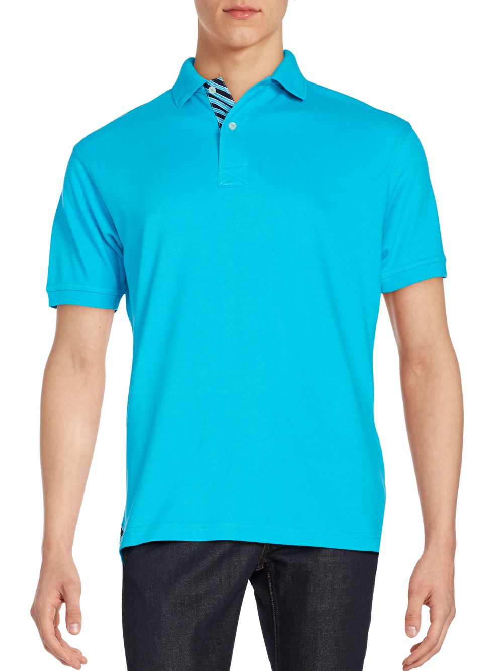bristol bull regular fit cotton polo shirt in blue for