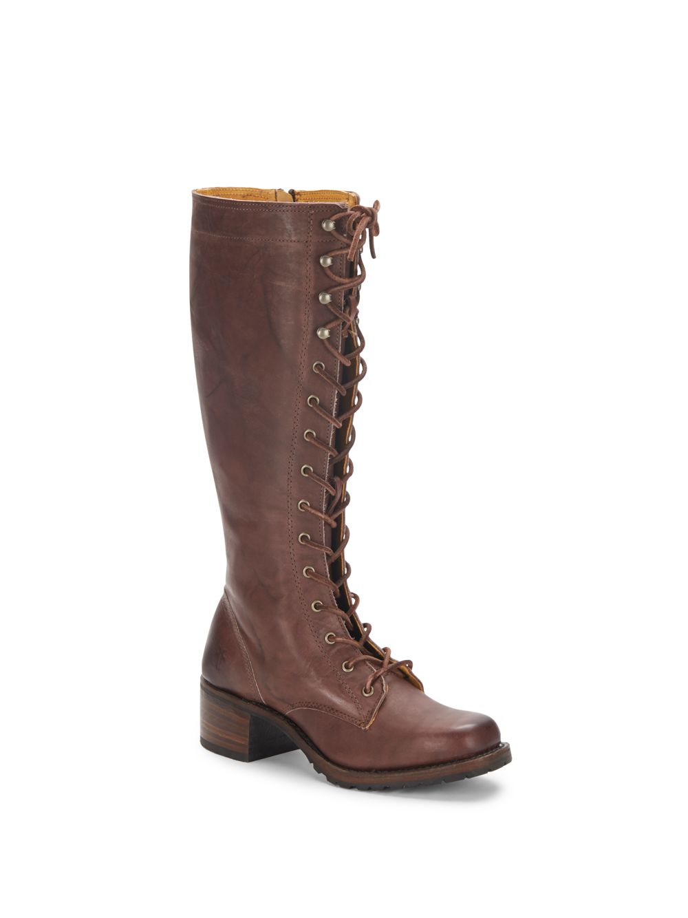 Frye Campus Lace Up Leather Lug Boots In Brown Lyst