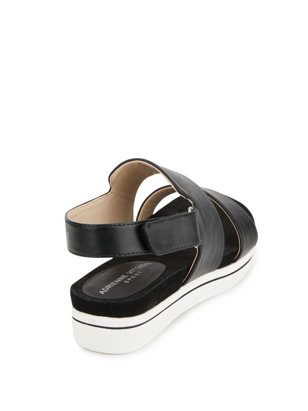 Adrienne Vittadini Sport Chuckie Leather Sandals In Black