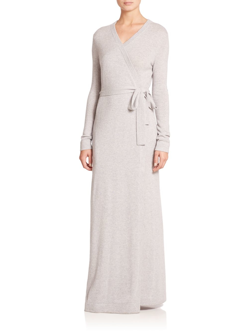 Saks fifth avenue long cashmere robe in gray lyst for Saks 5th avenue robes de mariage