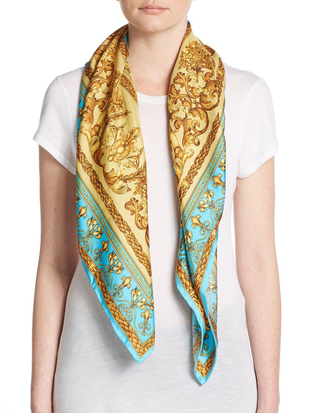 saks fifth avenue printed silk scarf in blue lyst