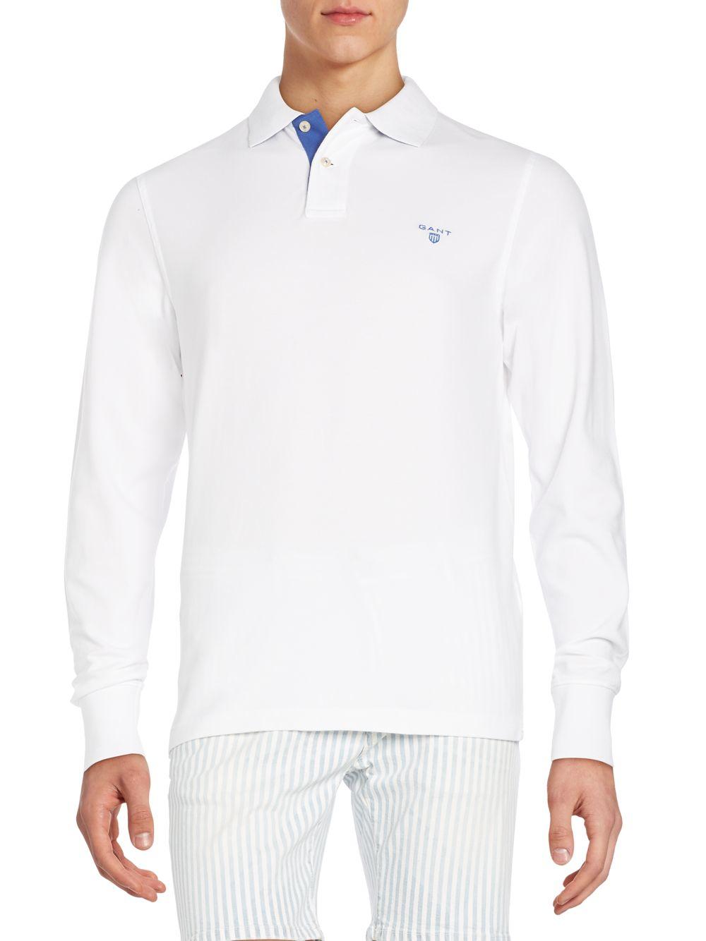 Gant regular fit long sleeve polo shirt in white for men for Long sleeve fitted polo shirts