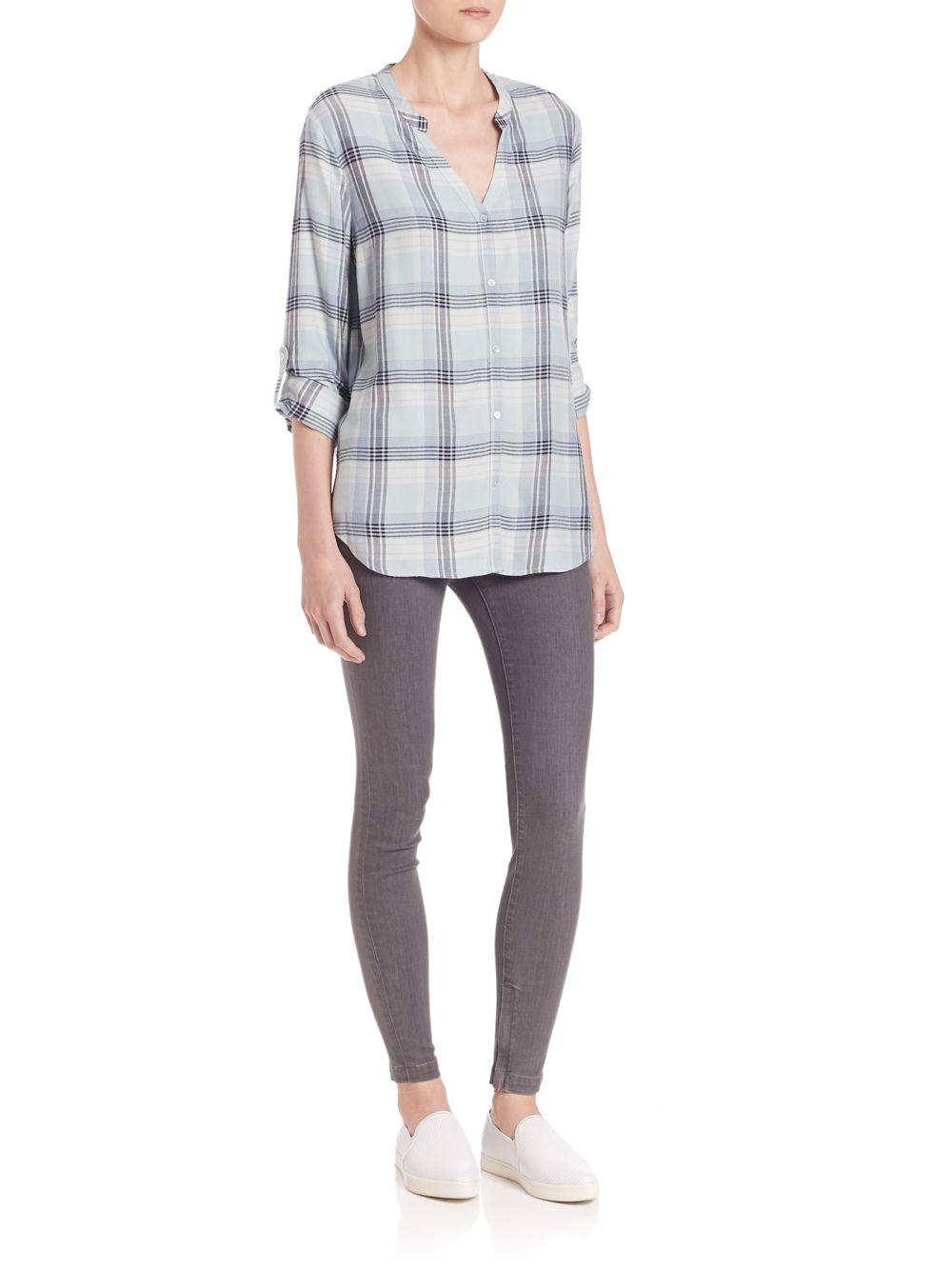 Joie soft dane plaid shirt in blue lyst for Soft joie plaid shirt