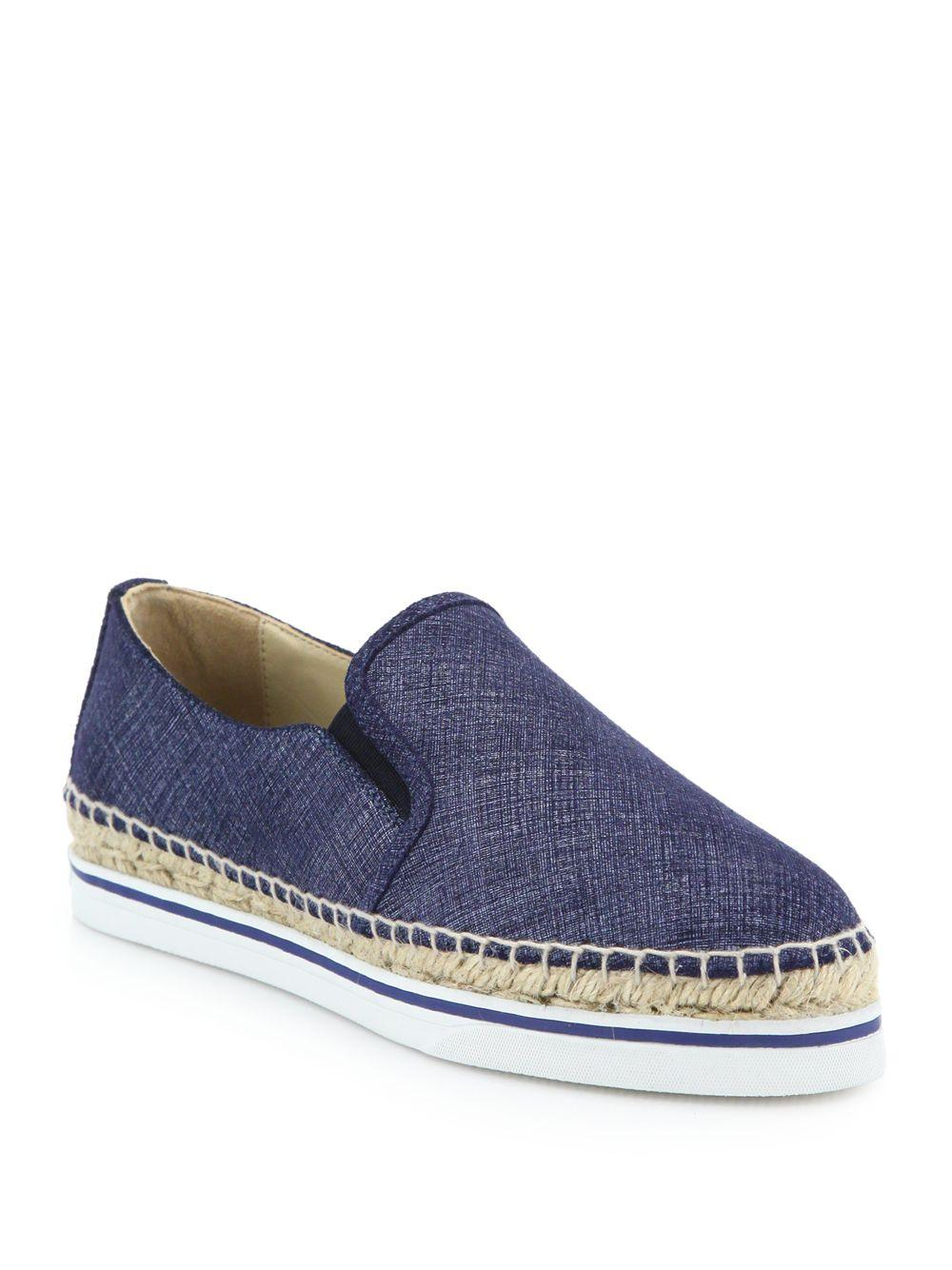 Jimmy Choo Dawn Denim Leather Espadrille Sneakers In Blue