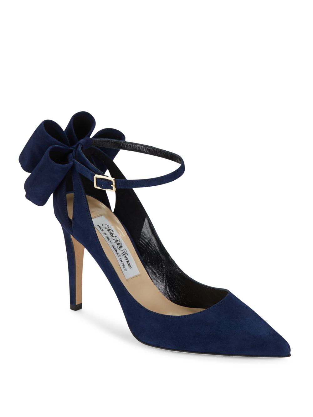 Saks Fifth Avenue Bow Ankle Strap Suede Pumps In Blue Lyst