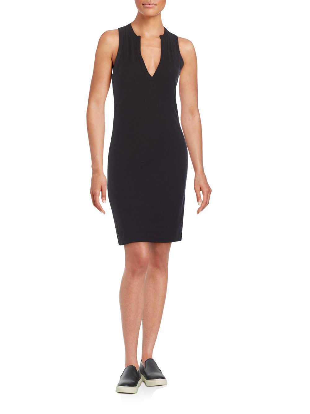 James perse henley tank dress in black lyst for James perse henley shirt