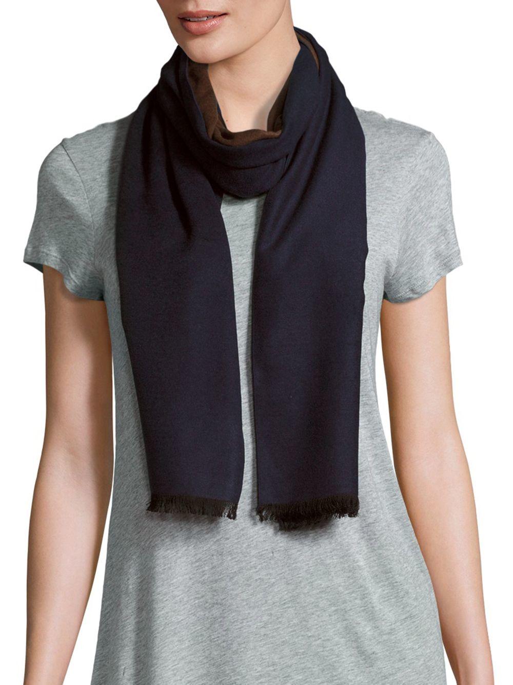 saks fifth avenue reversible silk scarf in blue lyst