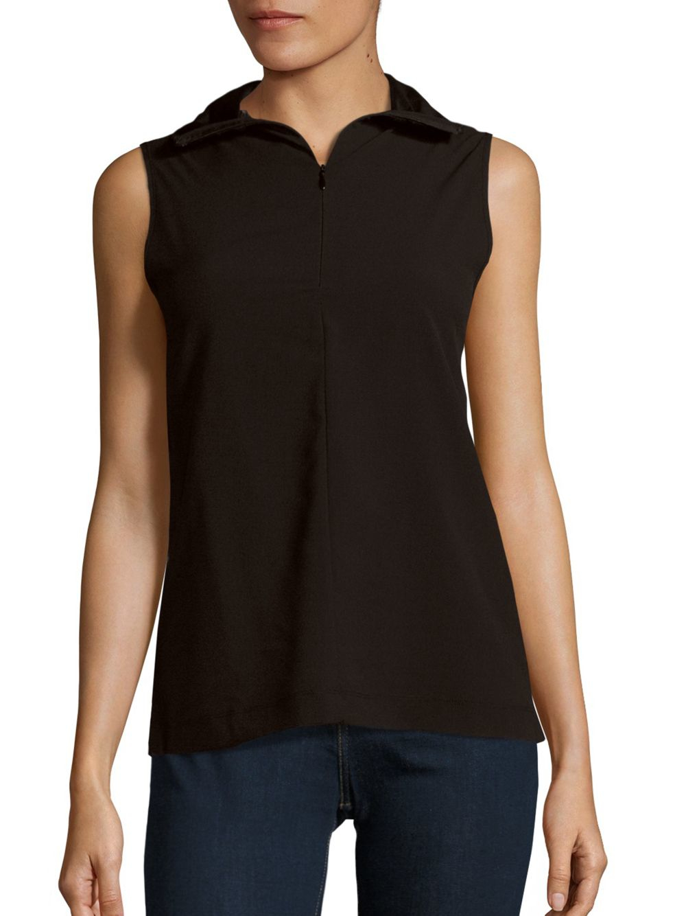 French Connection Sleeveless Zip Front T Shirt In Black Lyst
