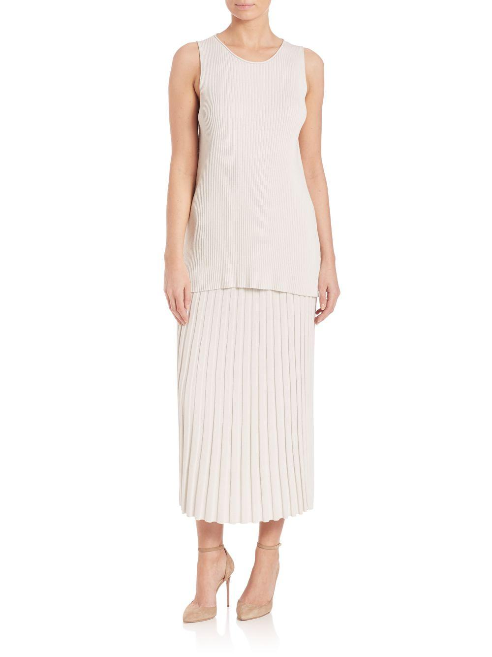 eileen fisher pleated midi skirt lyst
