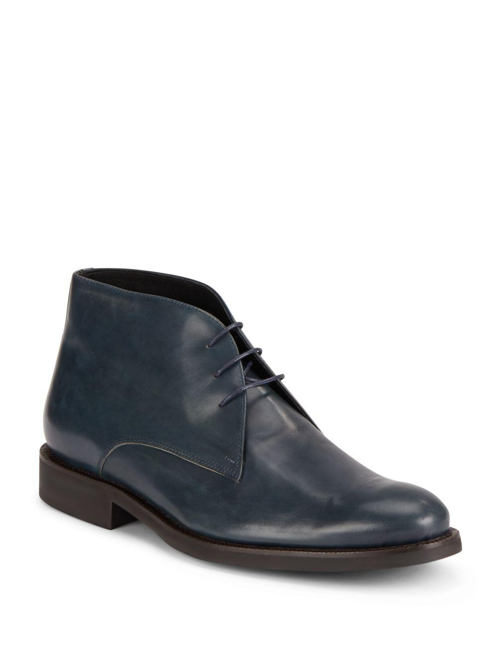 bugatchi leather ankle boots in green for lyst